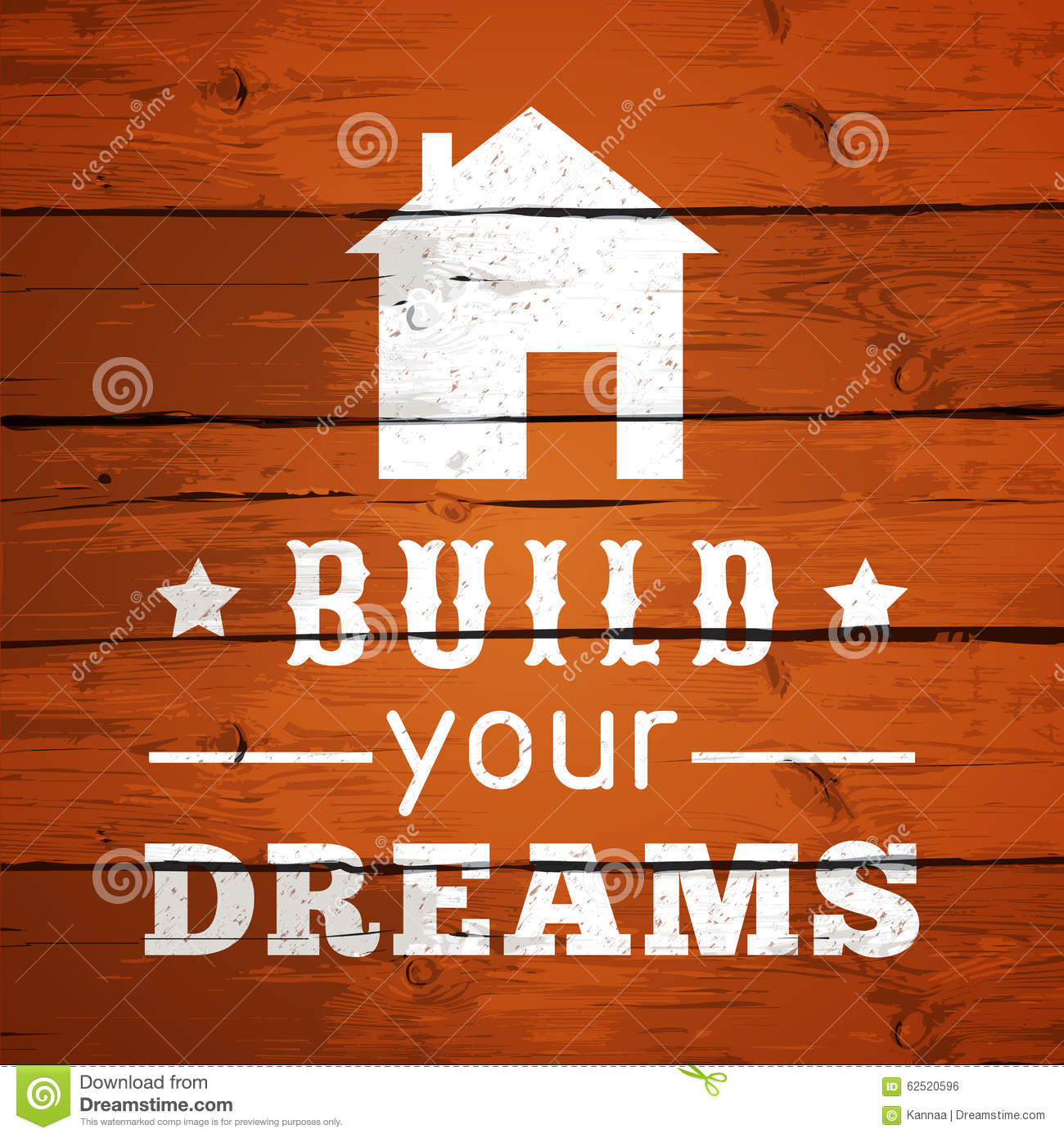 Typographic poster design build your dreams stock for Design your home