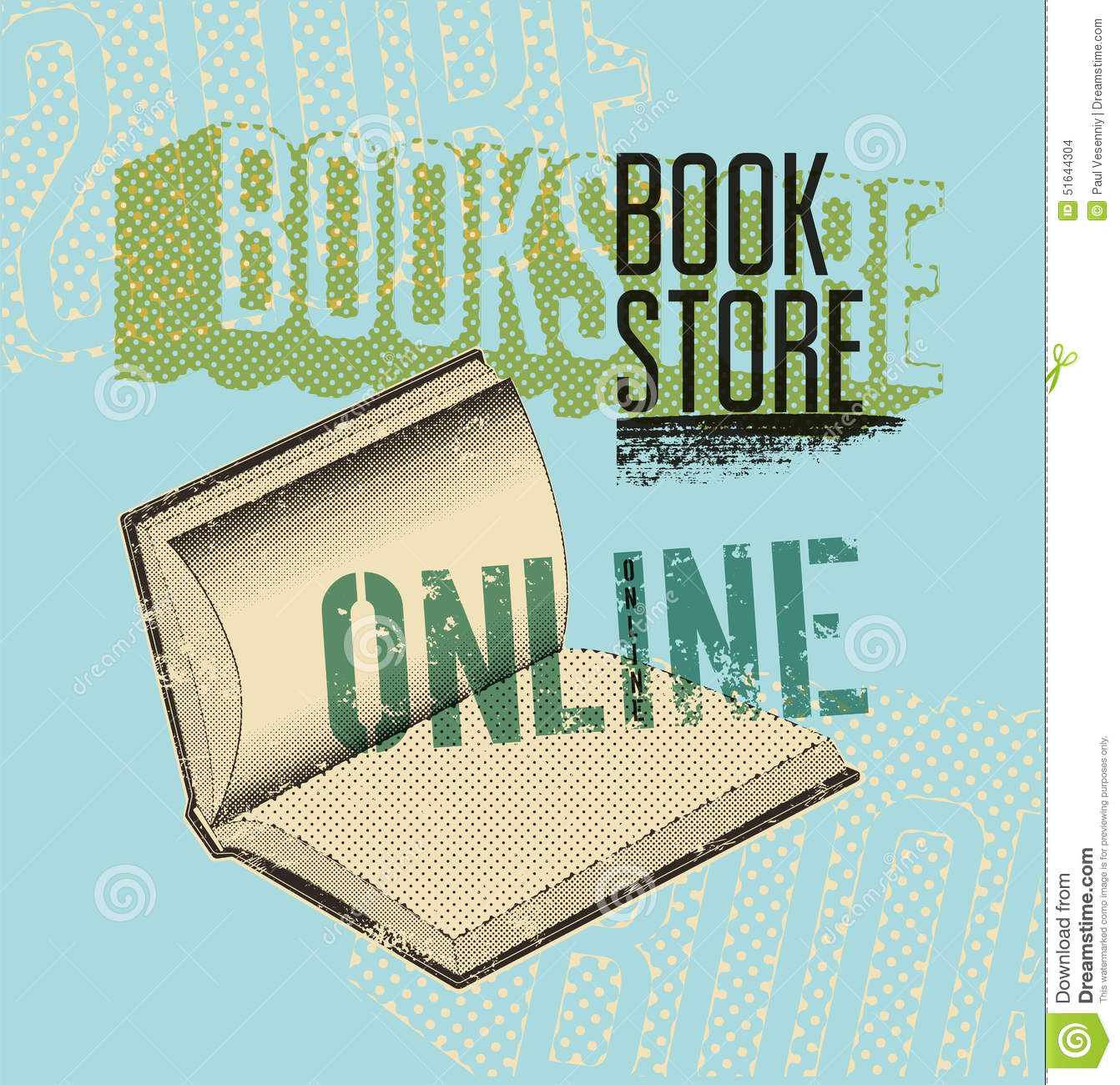 Poster design online - Typographic Poster In Grunge Style For A Online Bookstore Vector Illustration Stock Images