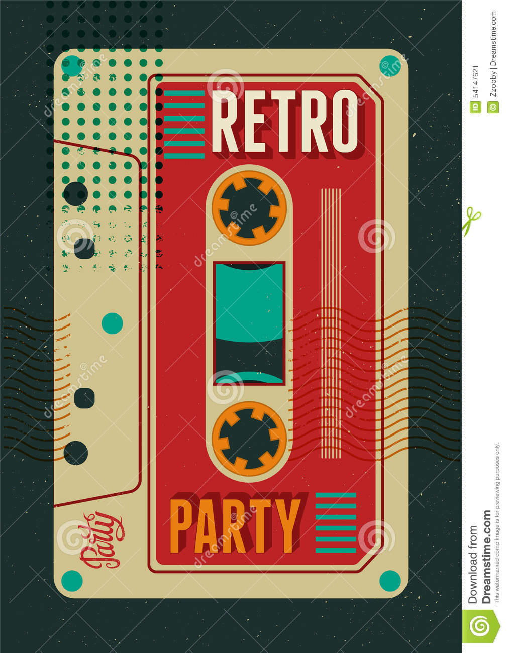 typographic retro party poster design with an audio. Black Bedroom Furniture Sets. Home Design Ideas