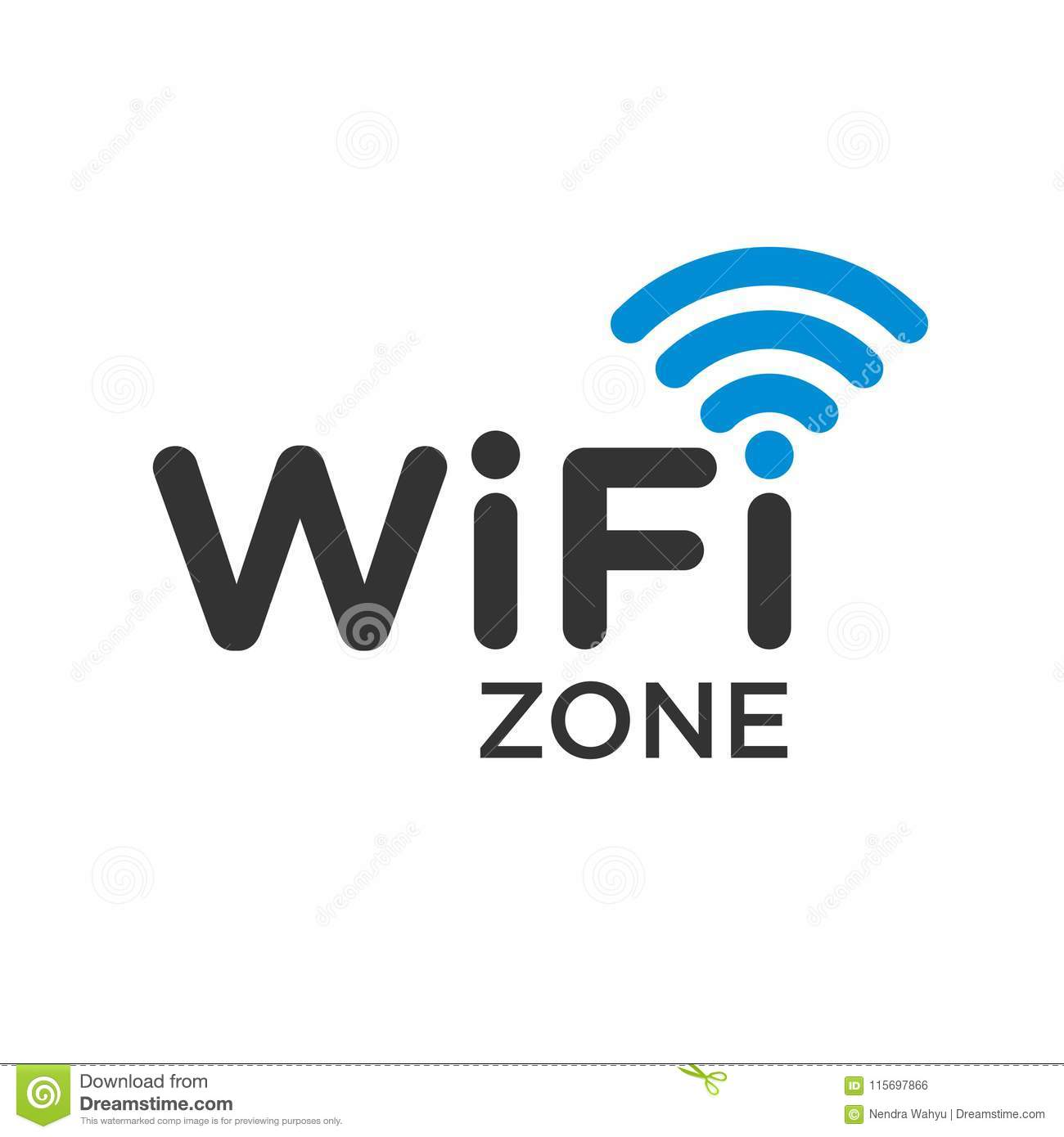 Typographic Symbol Of Wifi Internet Area With Wave Signal Stock