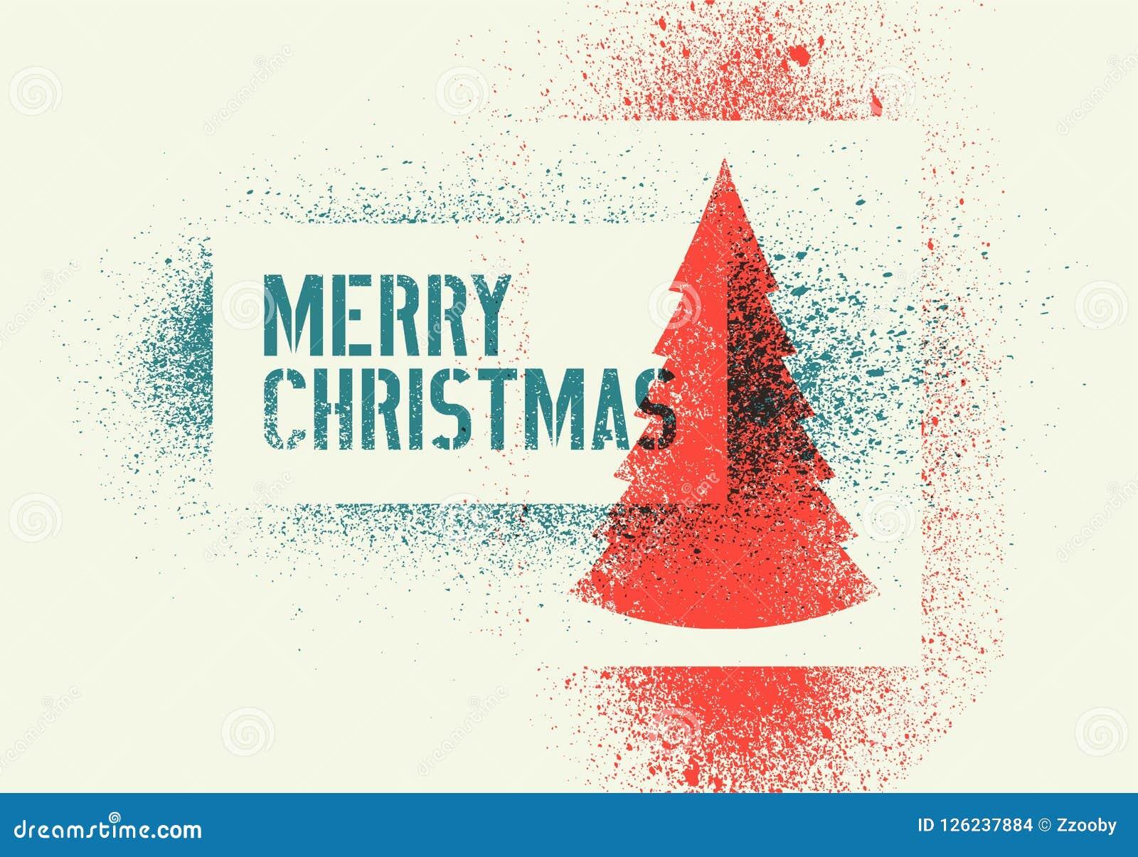 Typographic Vintage Grunge Stencil Splash Style Christmas Greeting