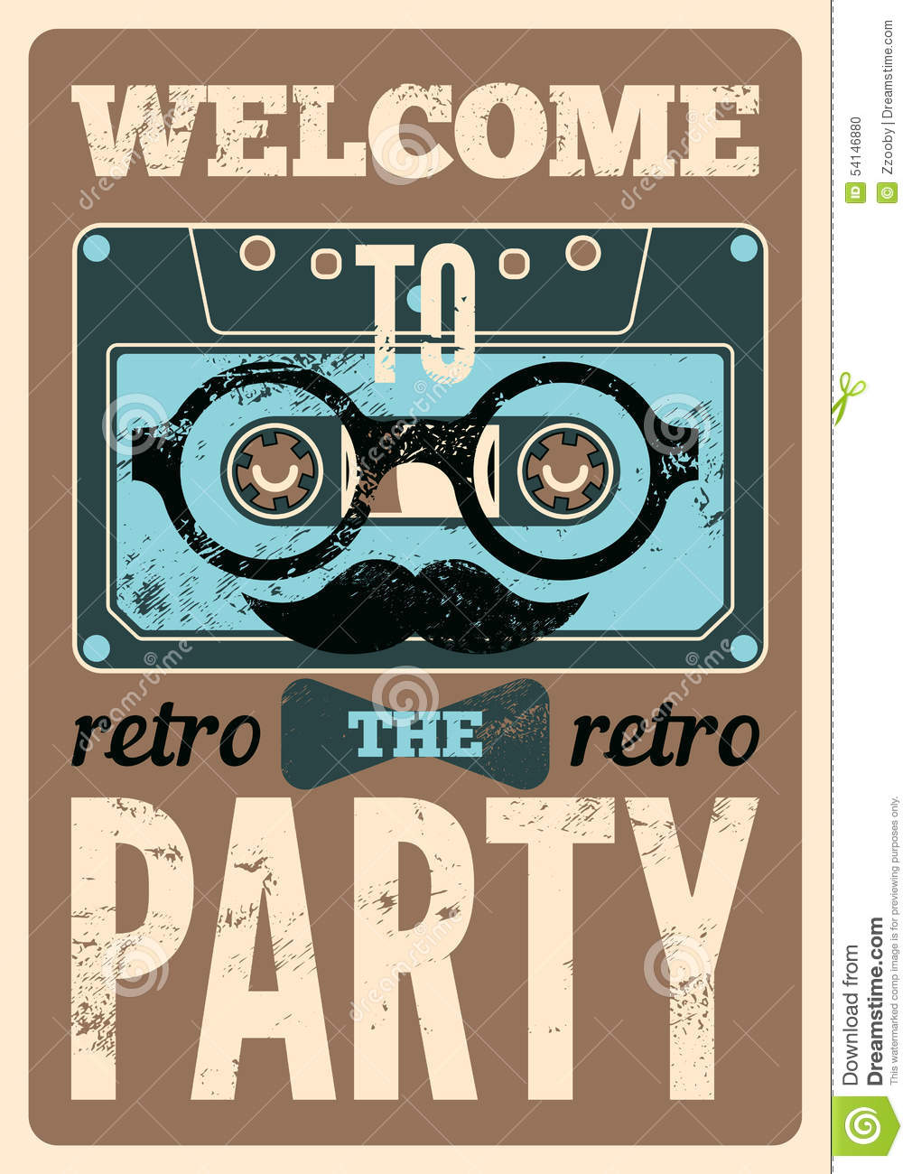 Typographical Retro Party Poster Design With Funny Audio ...