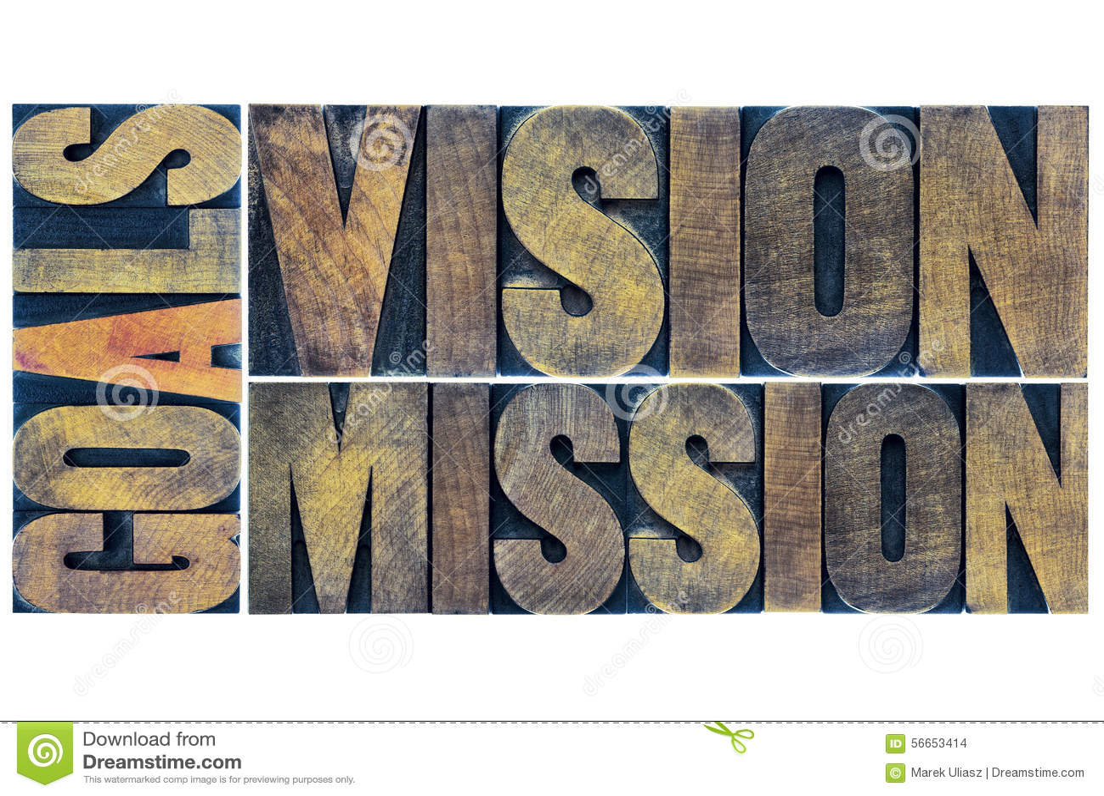 Typographie de buts, de vision et de mission