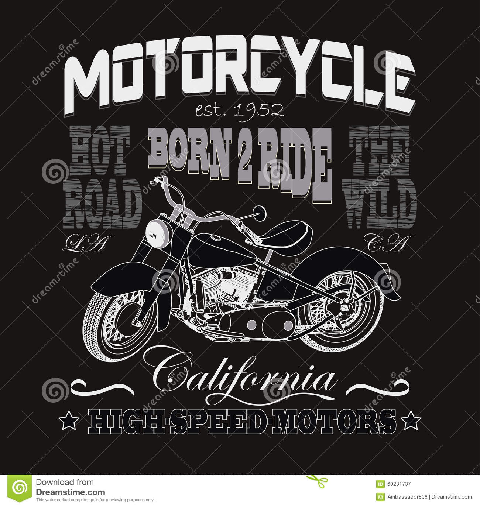 Typographie de emballage de moto, moteurs de la Californie