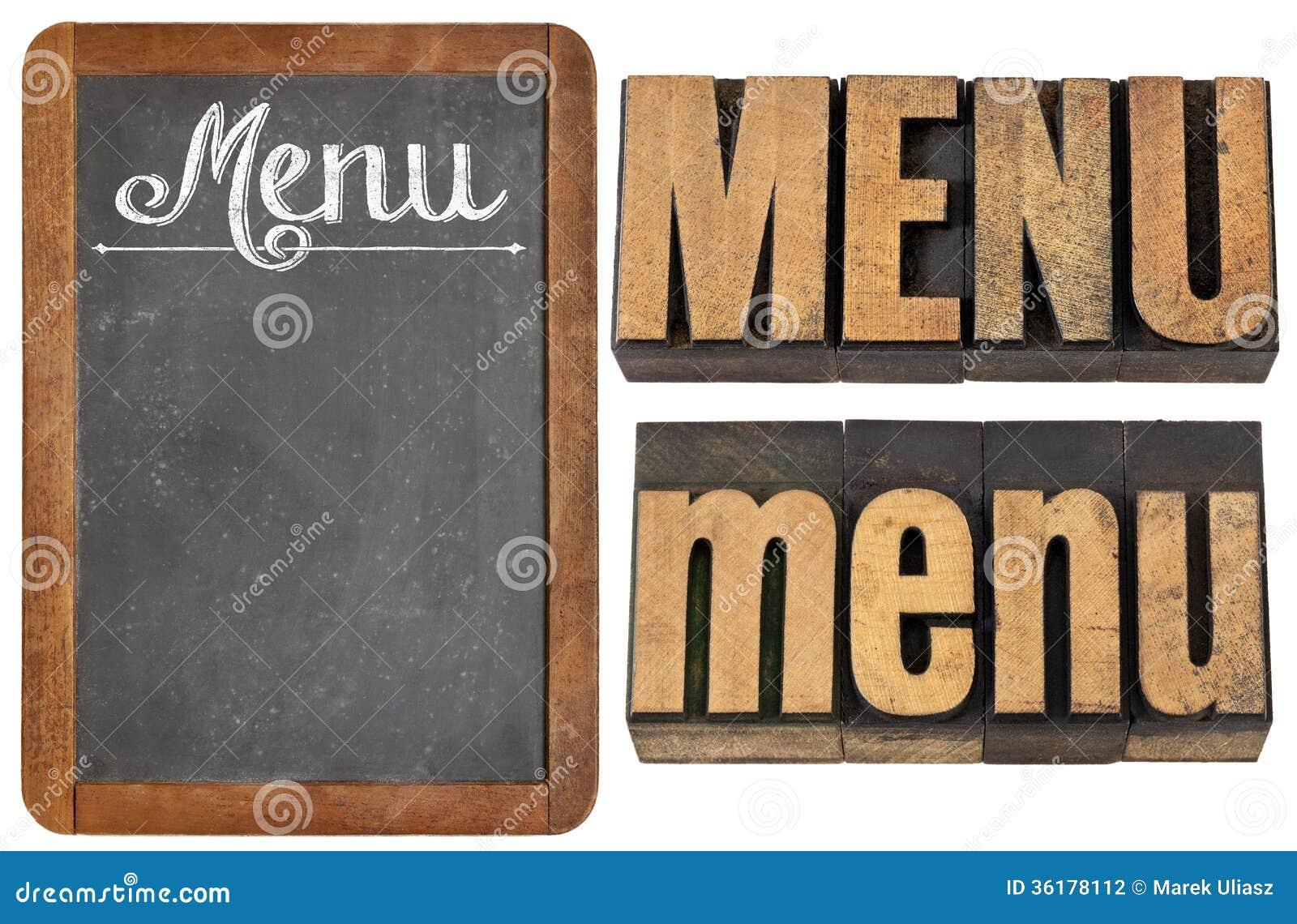 Typographie de mot de menu