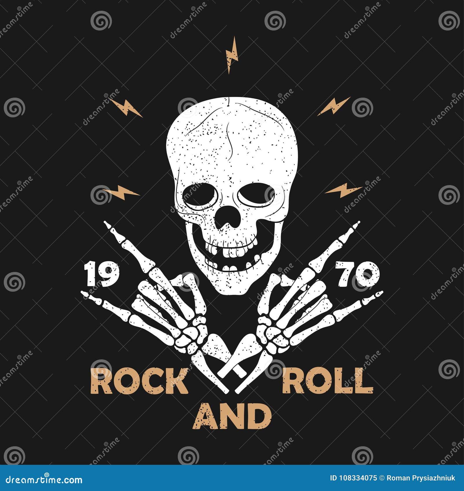Typographie grunge de musique de Roche-n-petit pain pour le T-shirt Conception de vêtements avec les mains et le crâne squelettiq