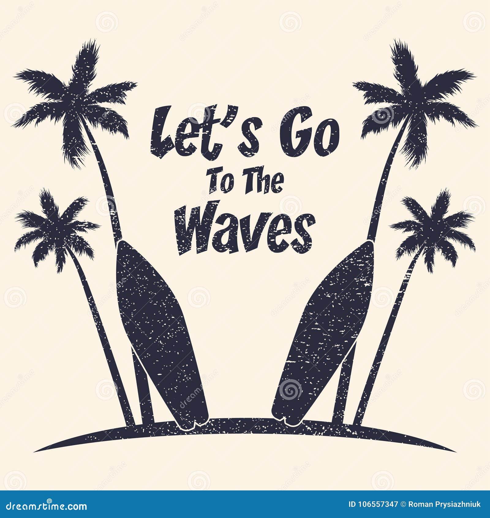 Typographie grunge surfante avec les palmiers et la planche de surf r Vecteur