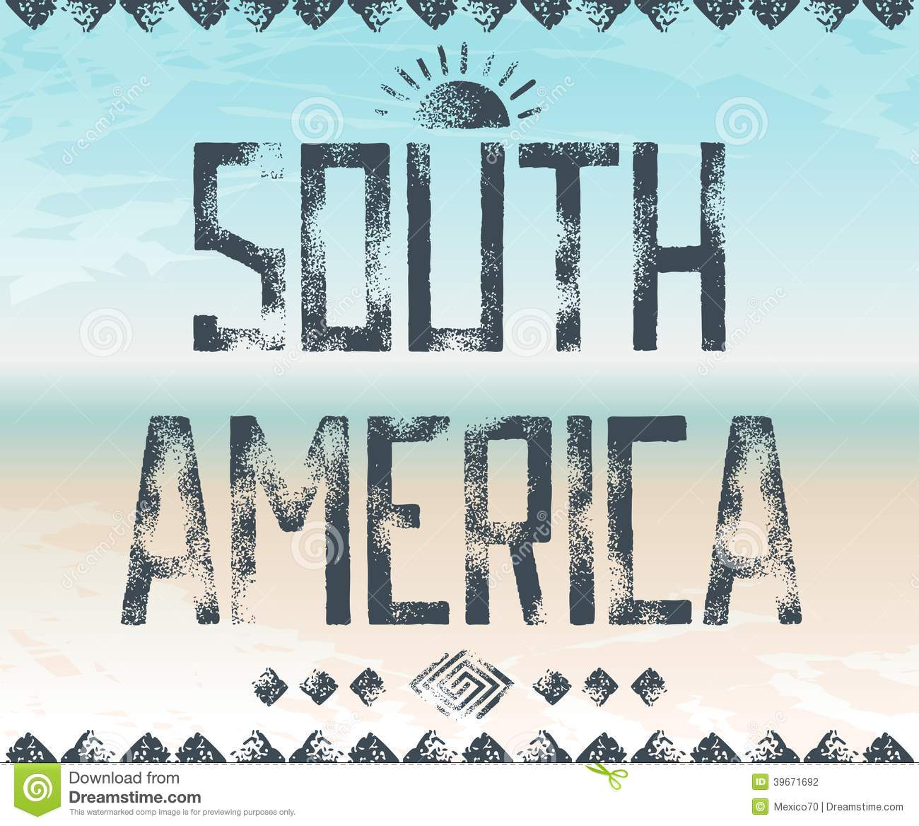 Grunge Typography Design South America Dark Lettering On Background