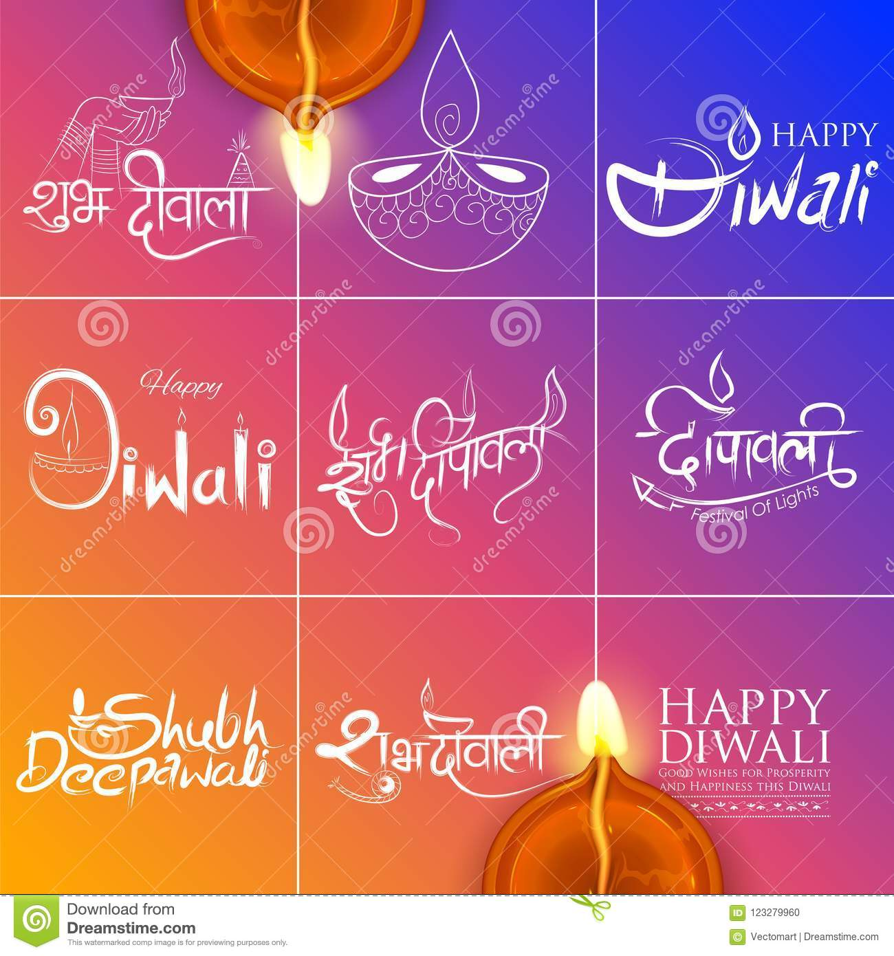 Typography Calligraphy On Diwali Holiday Background For