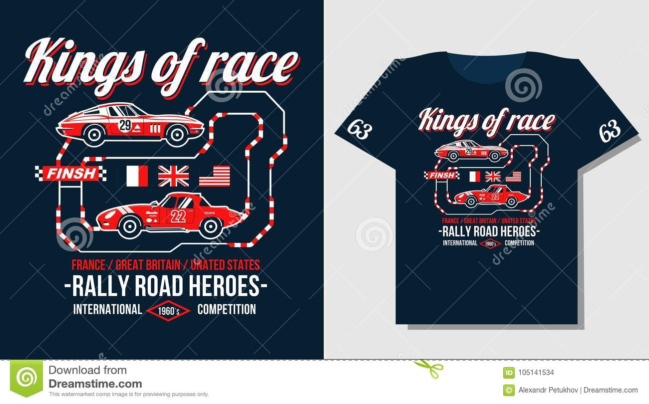 Typography Car Design Classic Rally Race Retro T Shirts Cool Design