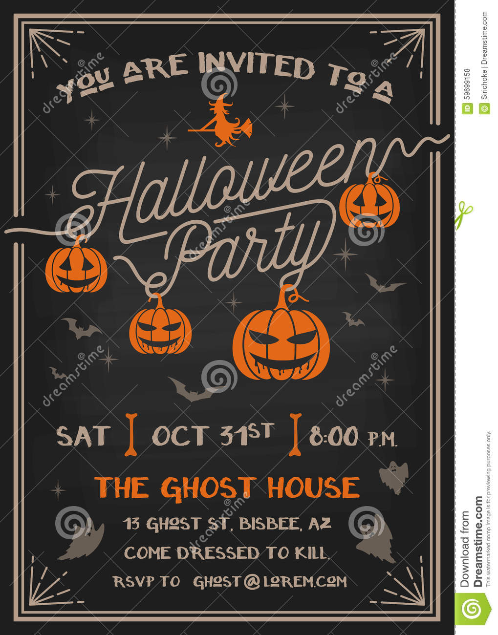 Typography Halloween Party Invitation Card Design Vector – Party Invitation Card Design