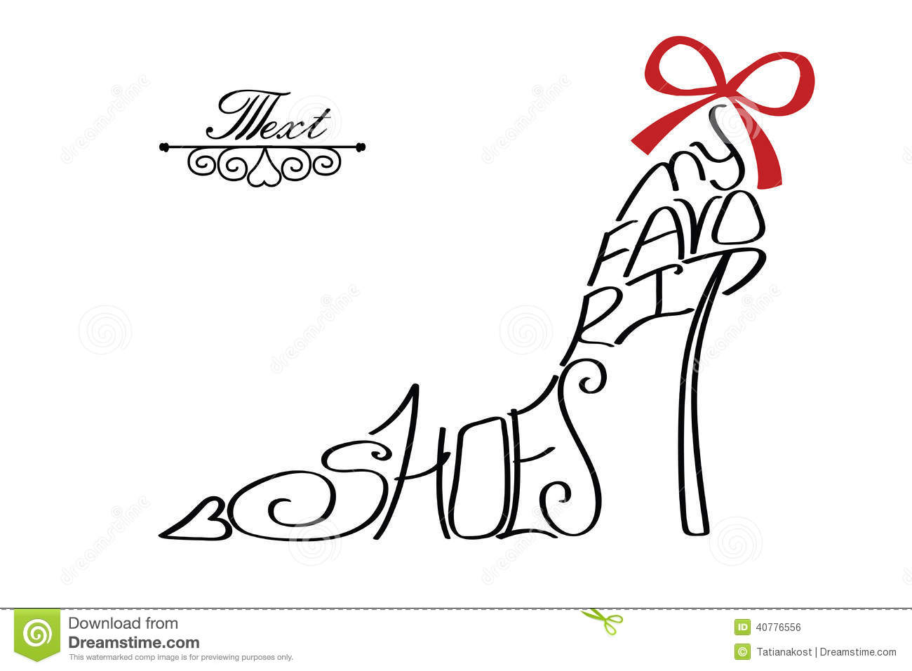 Typography Shoes Design.Silhouette Of Woman Shoes From Words Stock ...