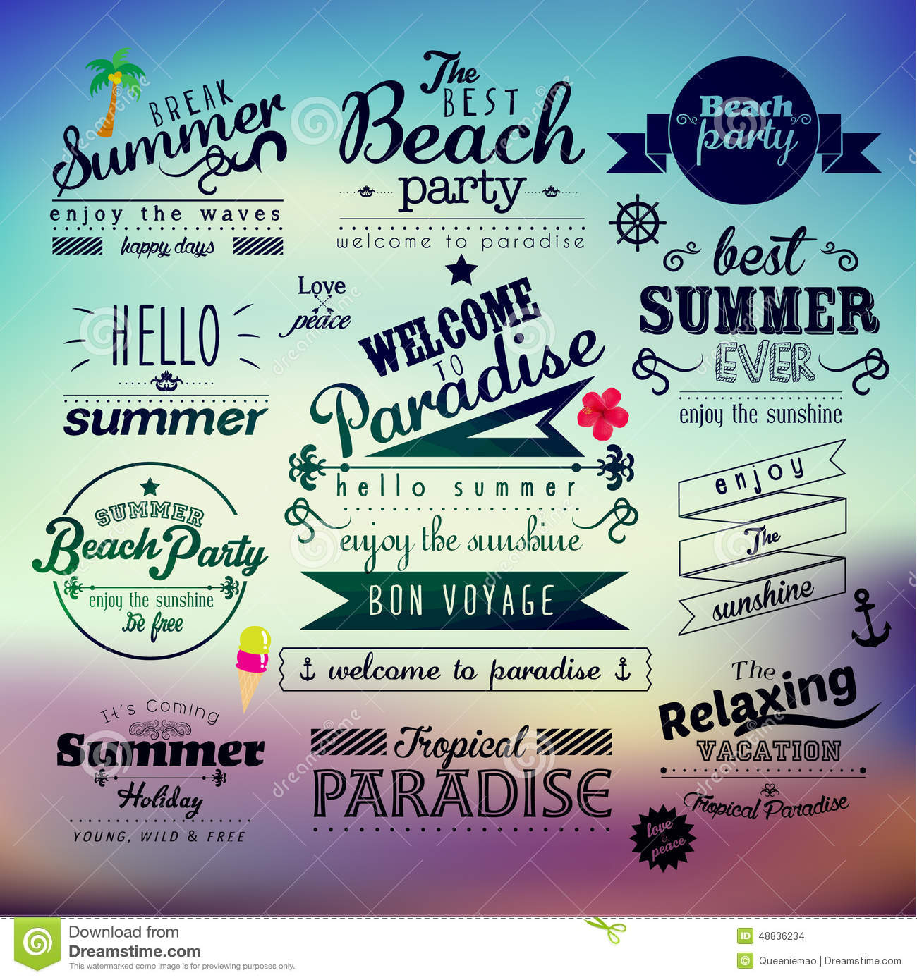 Typography Summer Holiday Quote Vector Design. Message, Break.