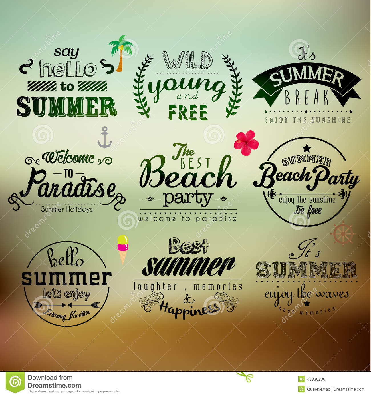 typography summer holiday quote vector design stock vector