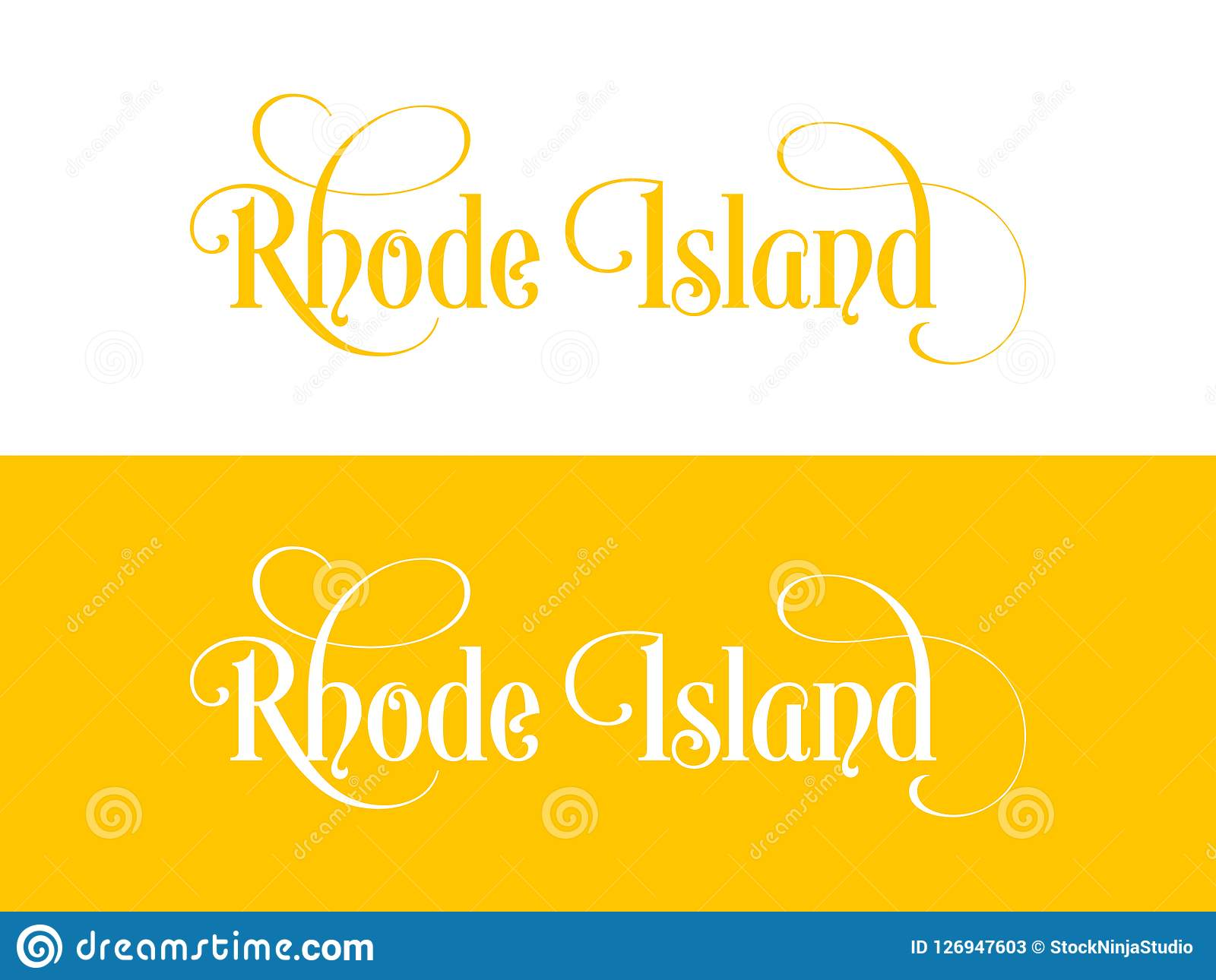 Typography of The USA Rhode Island States Handwritten Illustration on Official U.S. State Colors. Modern Calligraphy Element for your design. Simple vector Vector Illustration