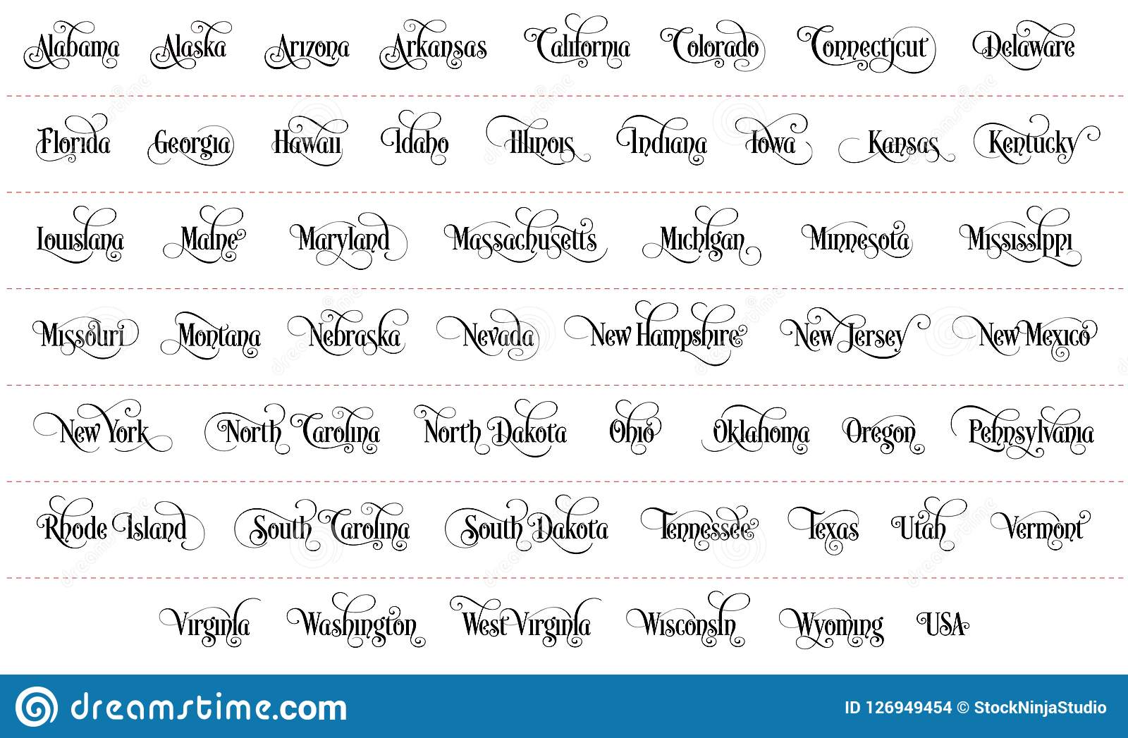 Typography of The USA States All Name Black Handwritten Illustration on White Background
