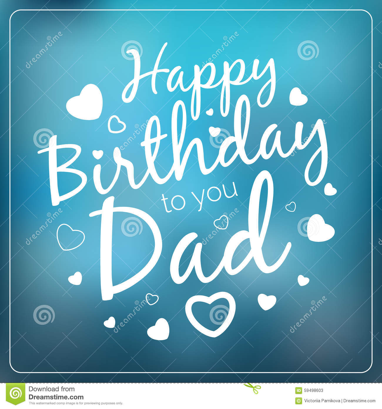 Typography Vector Happy Birthday To You Dad Card Template Stock