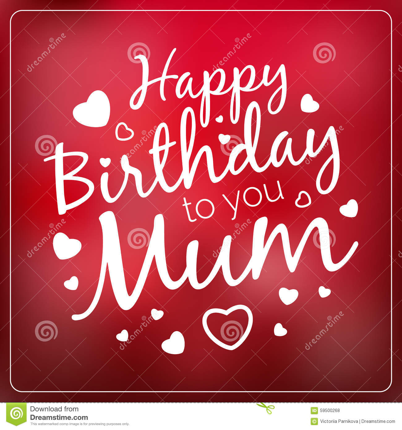 ... Birthday To You Mum Card Template. Stock Vector - Image: 59500268
