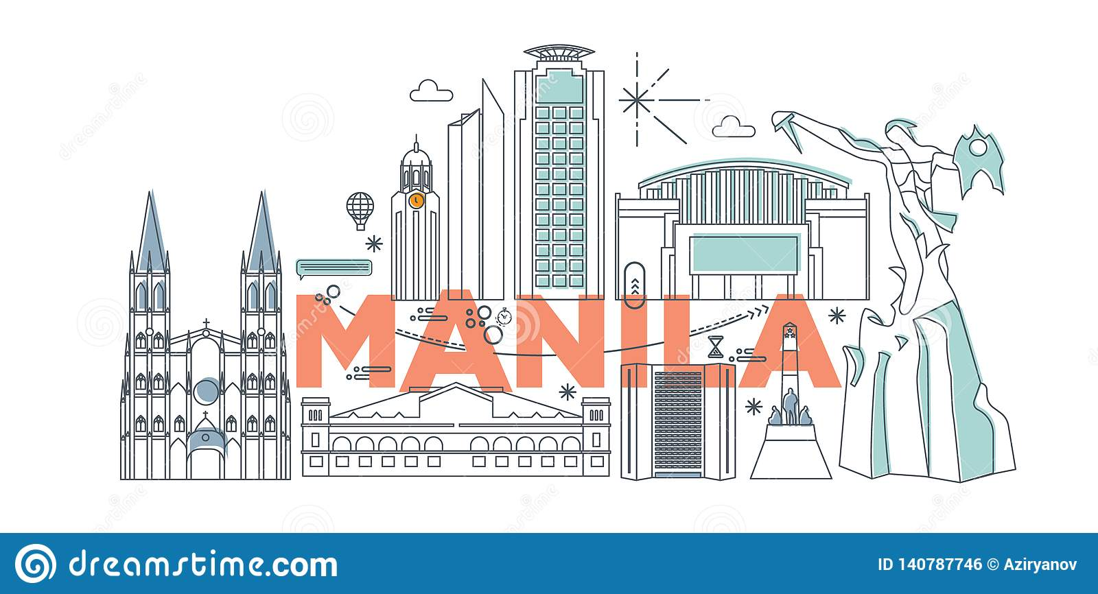 Manila cartoon travel map vector illustration