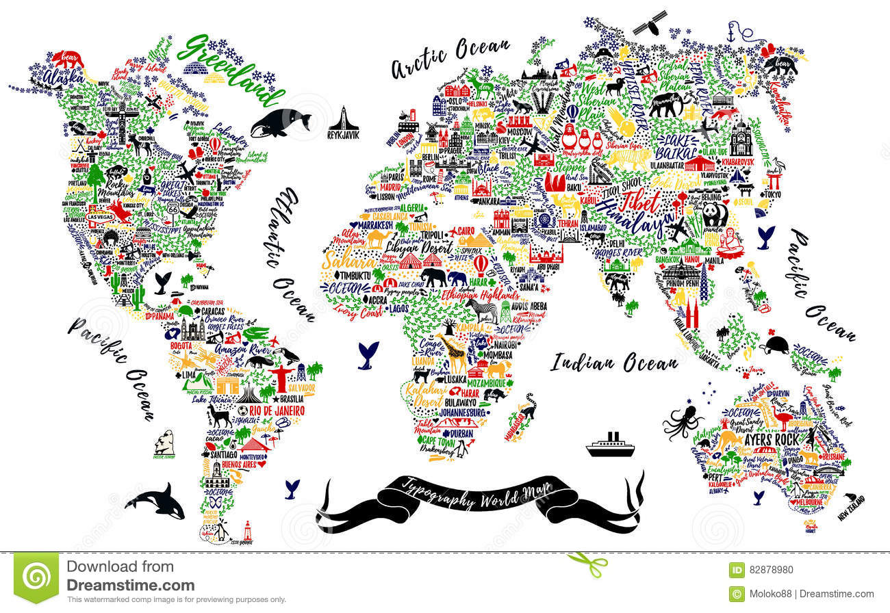 World Map In Typography Stock Photography Cartoondealer