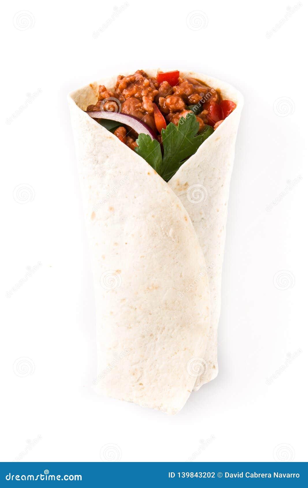 Typowy Meksykański burrito opakunek z wołowiną, frijoles i warzywami odizolowywającymi,