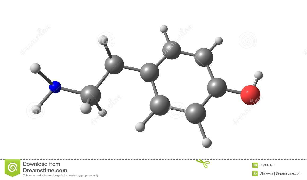 Tyramine Molecular Structure Isolated On White Stock Illustration