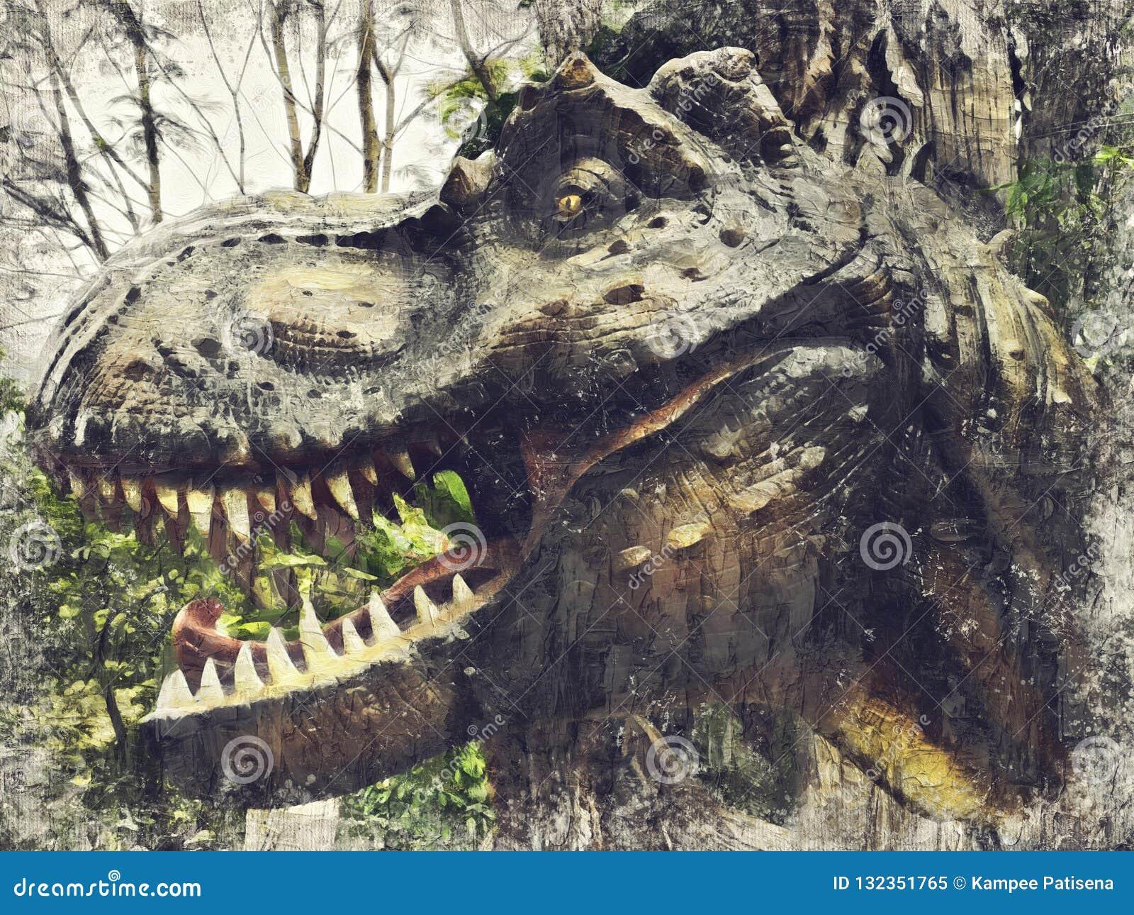 Tyrannosaurus Rex, t-REX Digitaal Art Impasto Oil Painting Abstr