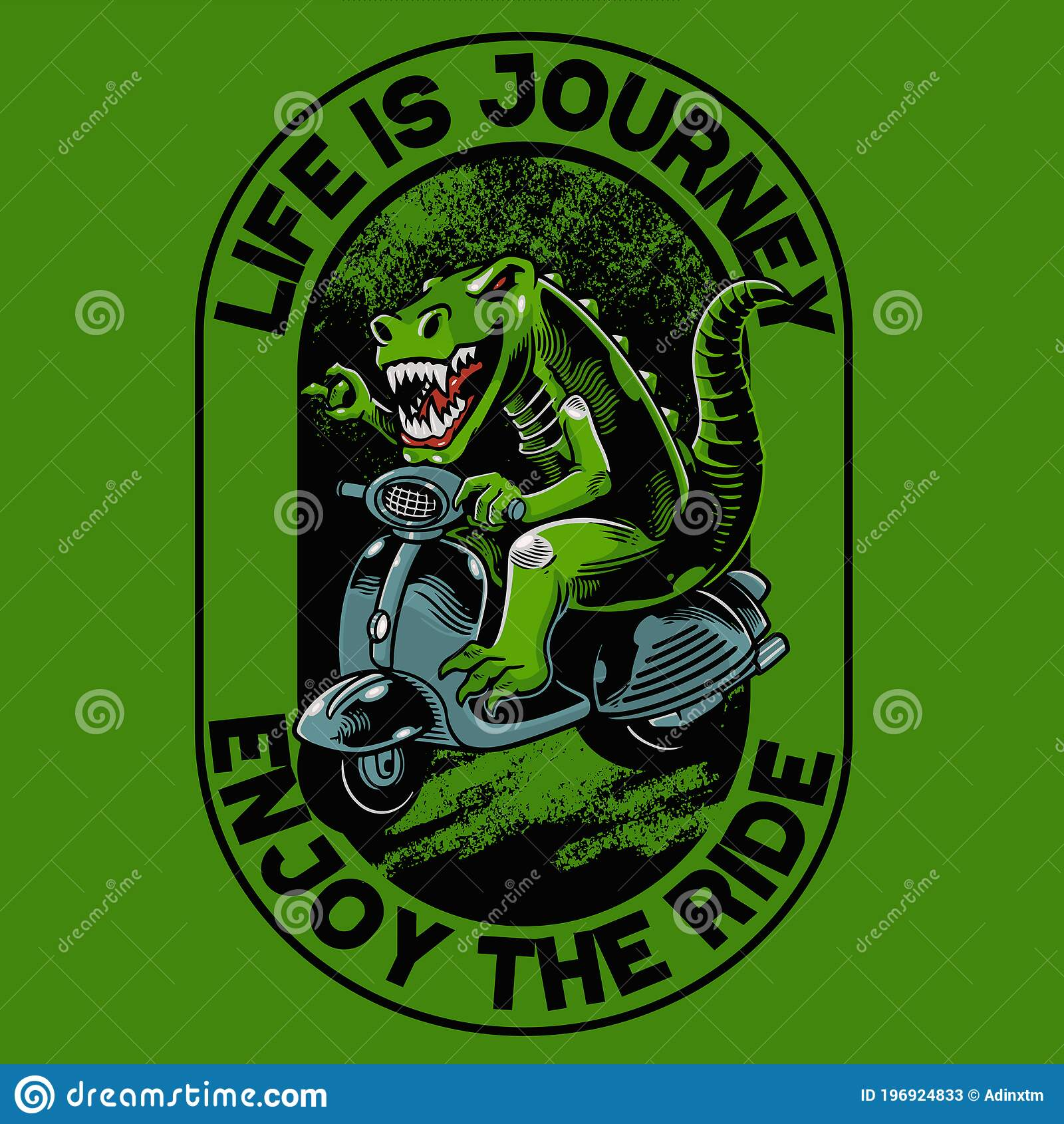Tyrannosaurus Rex With Vespa Scooter Matic T Shirt And Apparel Trendy Design Good For T Shirt Graphics Poster Print And Other Stock Vector Illustration Of Background Predator 196924833