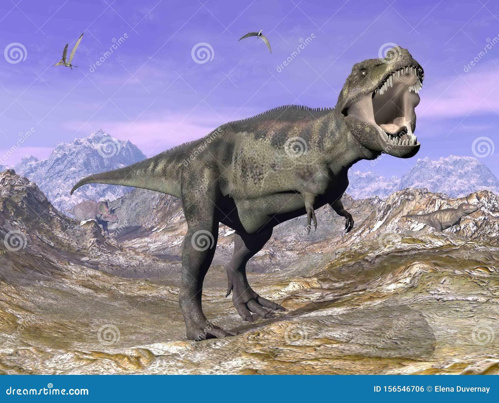 Tyrannosaurus T-Rex roaring in nature - 3D render