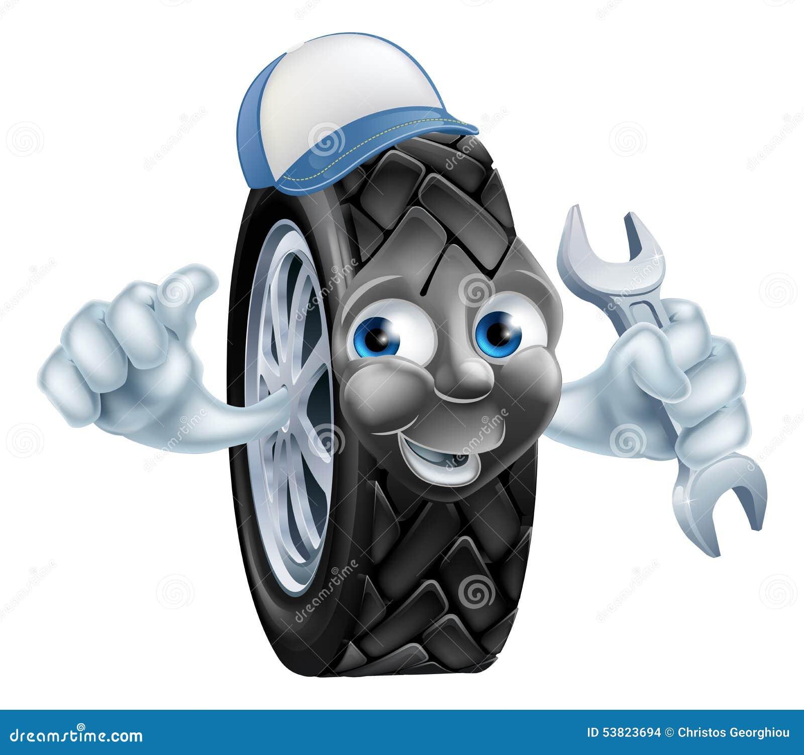 Tyre Mechanic Cartoon Mascot Stock Vector Image 53823694