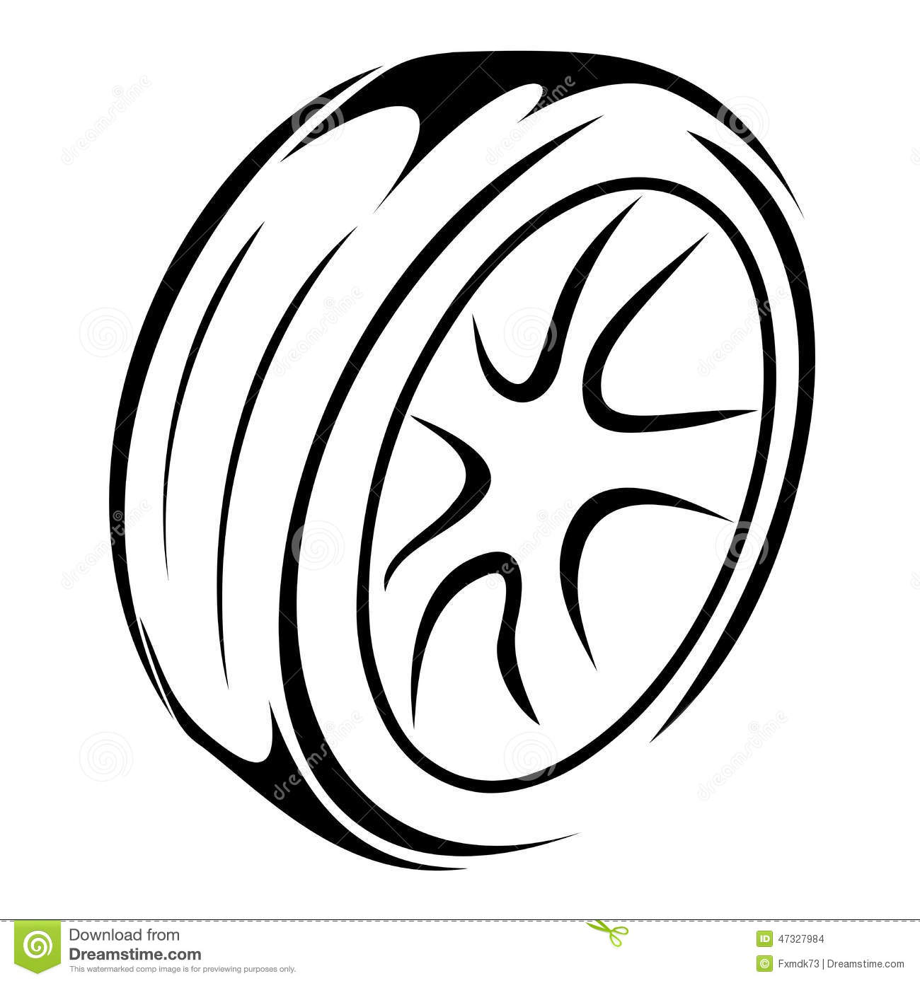 Tyre Wheels Sketch Stock Vector Image 47327984