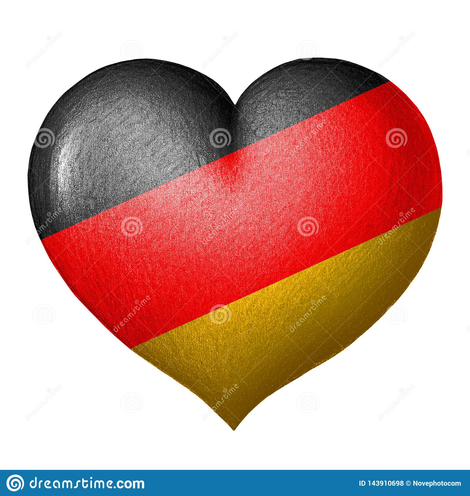 Tysk flaggahjärta bakgrund isolerad white