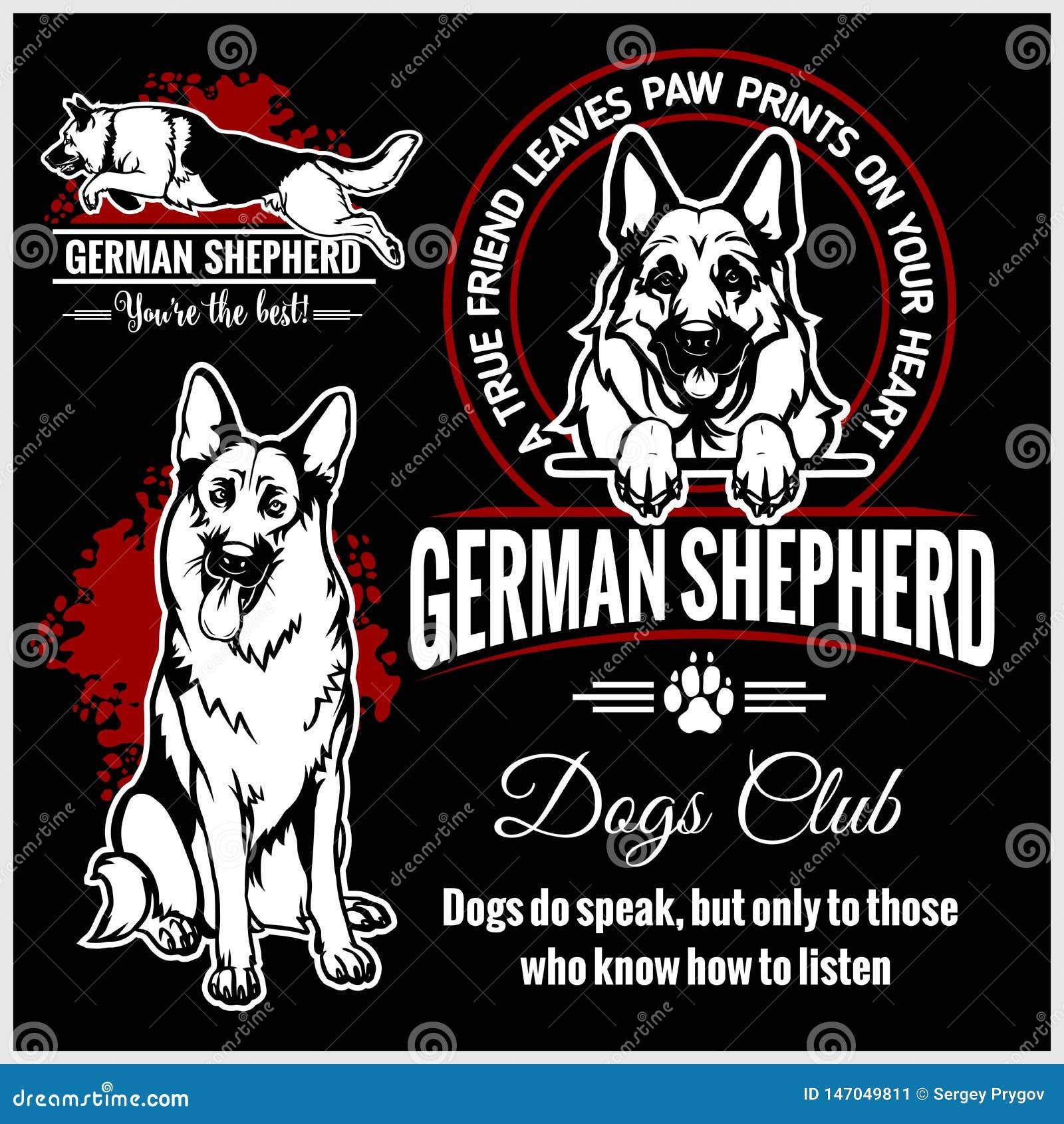 Tysk herde - vektoruppsättning för t-skjorta, logo- och mallemblem