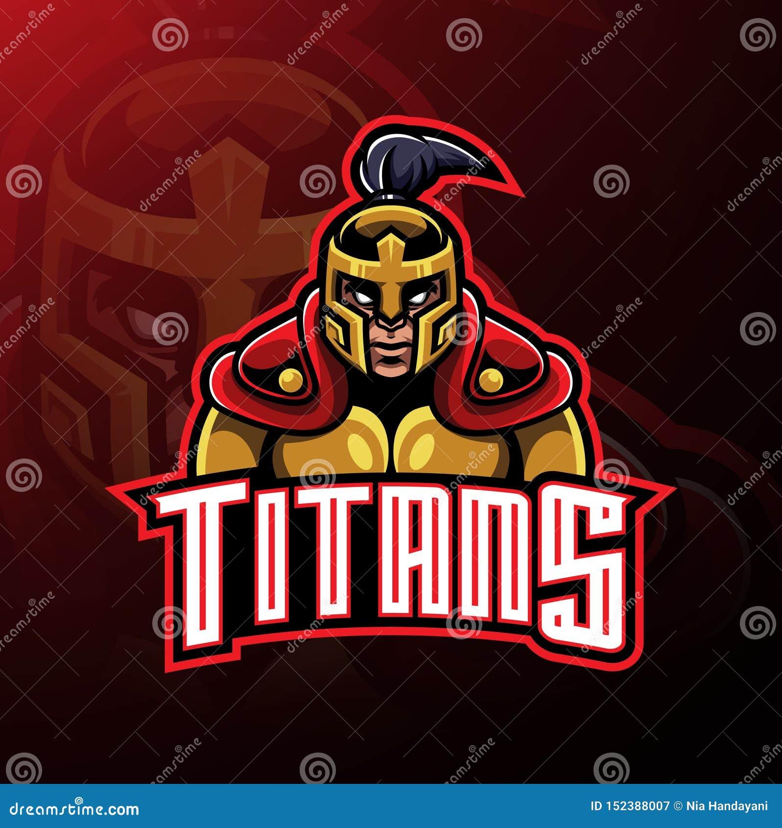 Tytanu wojownika maskotki logo projekt