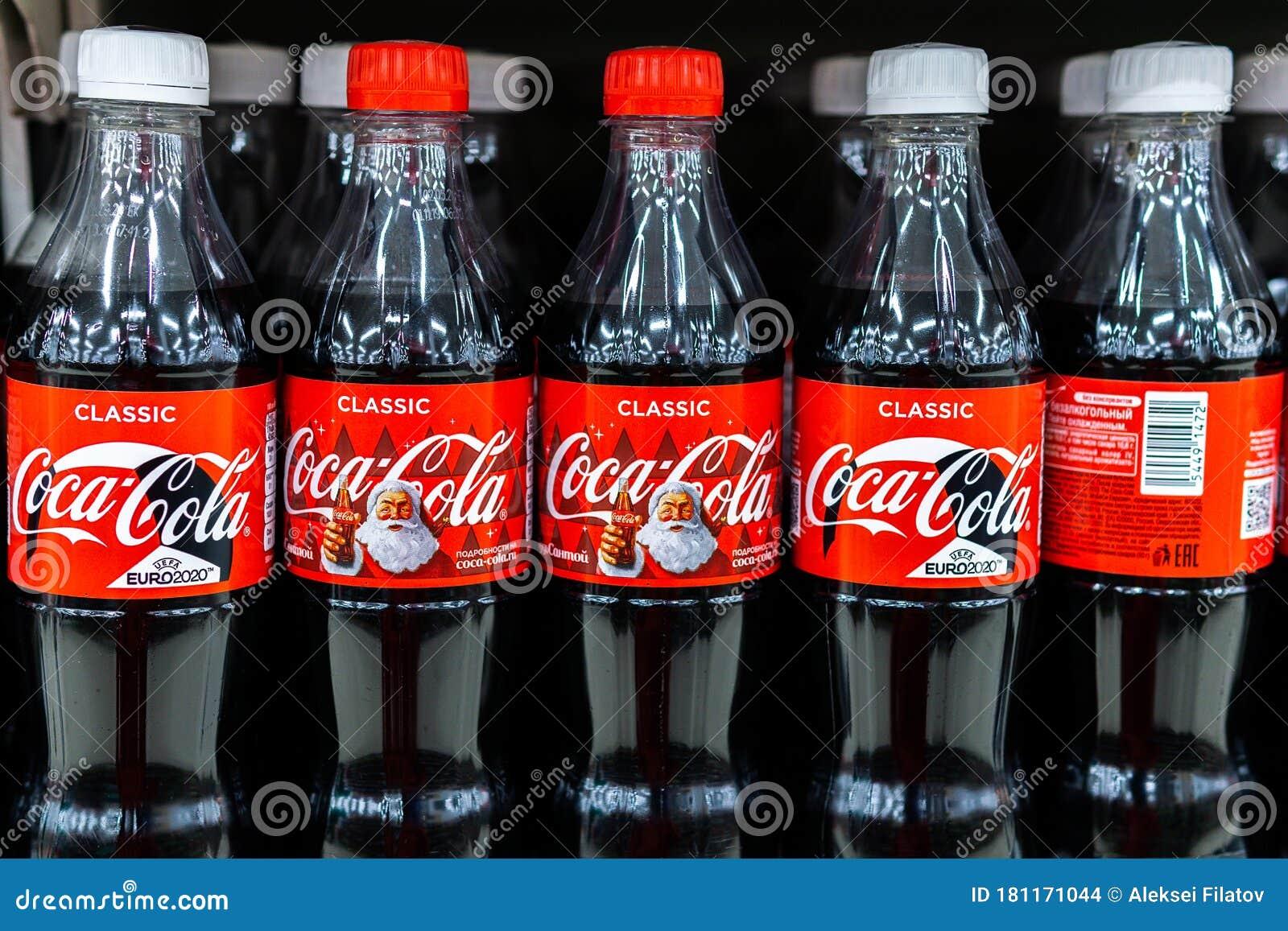 Coca Cola Christmas Bottle 2020 Tyumen, Russia April 26, 2020: Close Up Of Coca cola Bottles