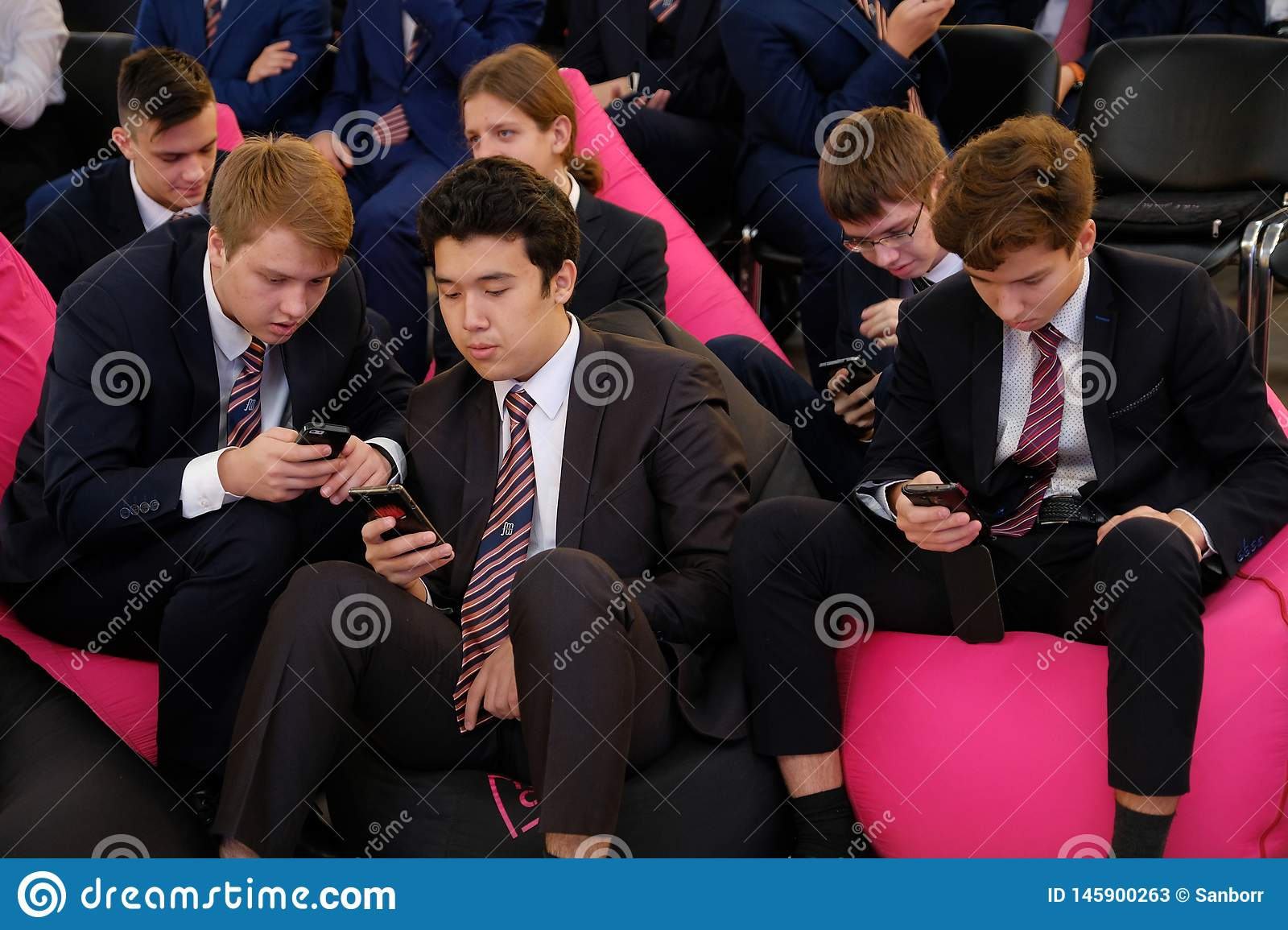 Tyumen, Russia, 10.11.2018. Forum of innovative technologies. Communication scientists, politicians and businessmen. Pupils and