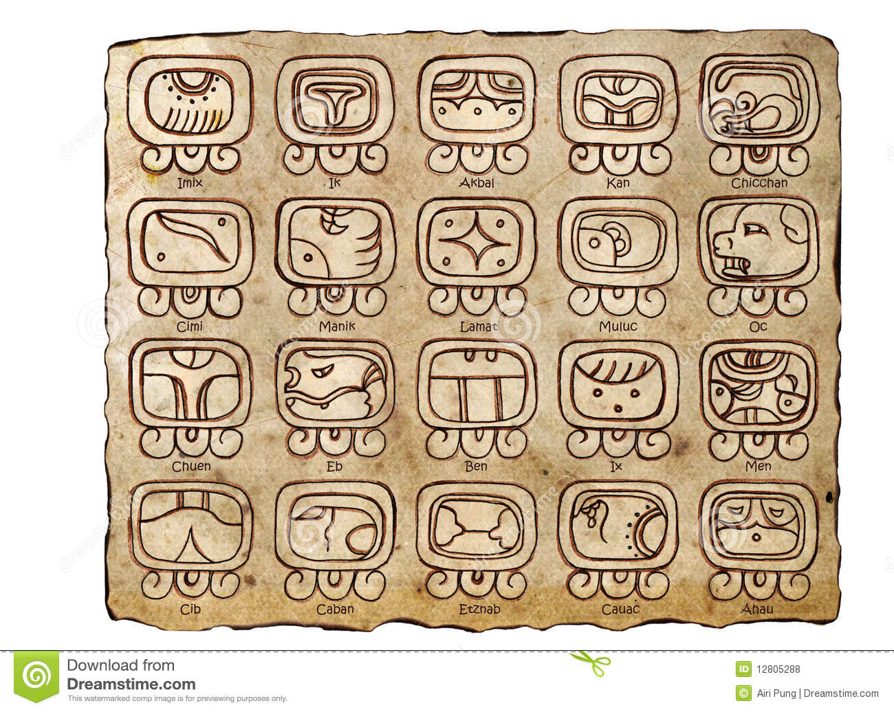 Tzolkin Calendar Maya Calendar Stock Illustration Illustration