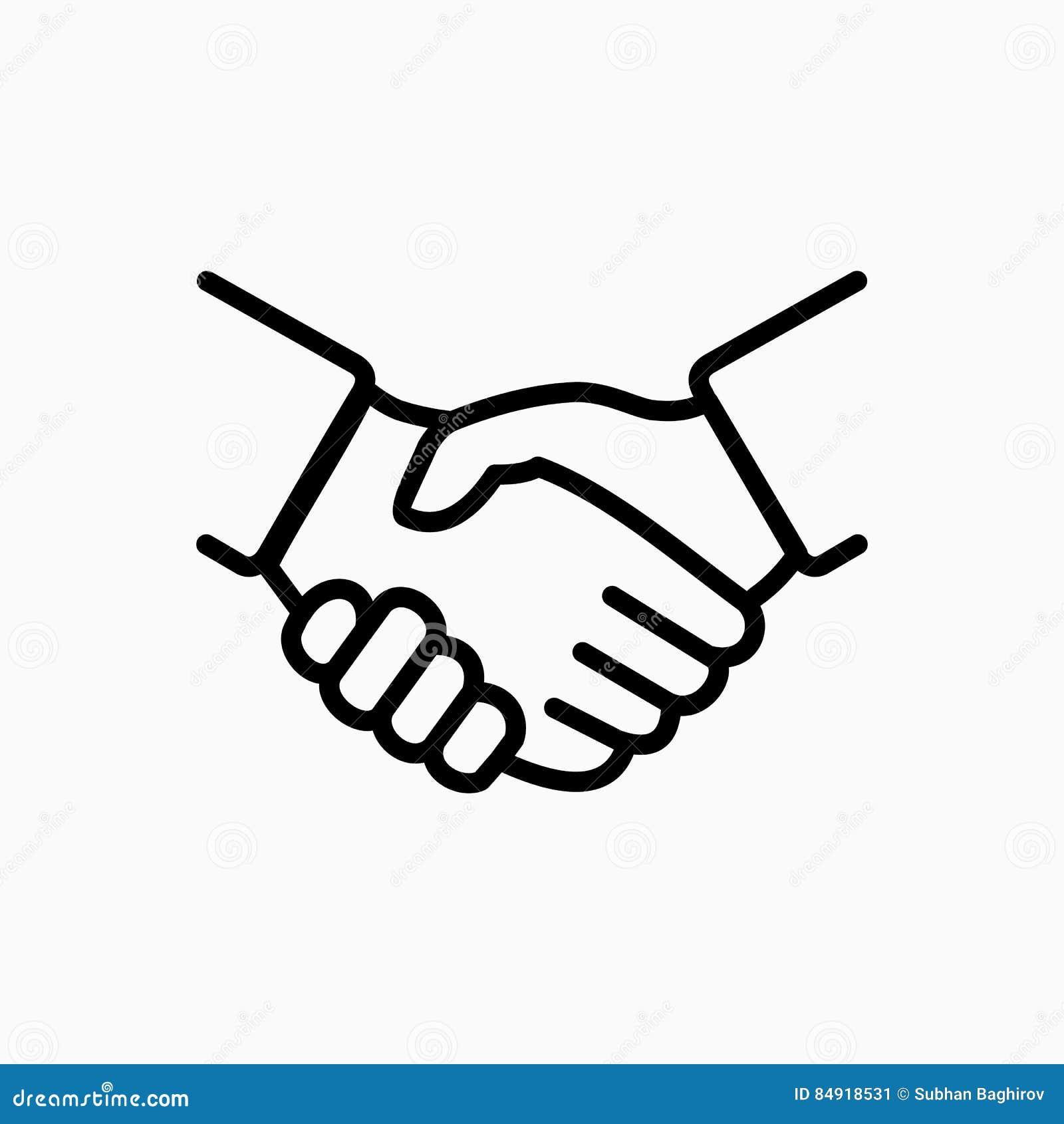 Uścisk dłoni ikony prosta wektorowa ilustracja Transakcja lub partner my zgadzamy się