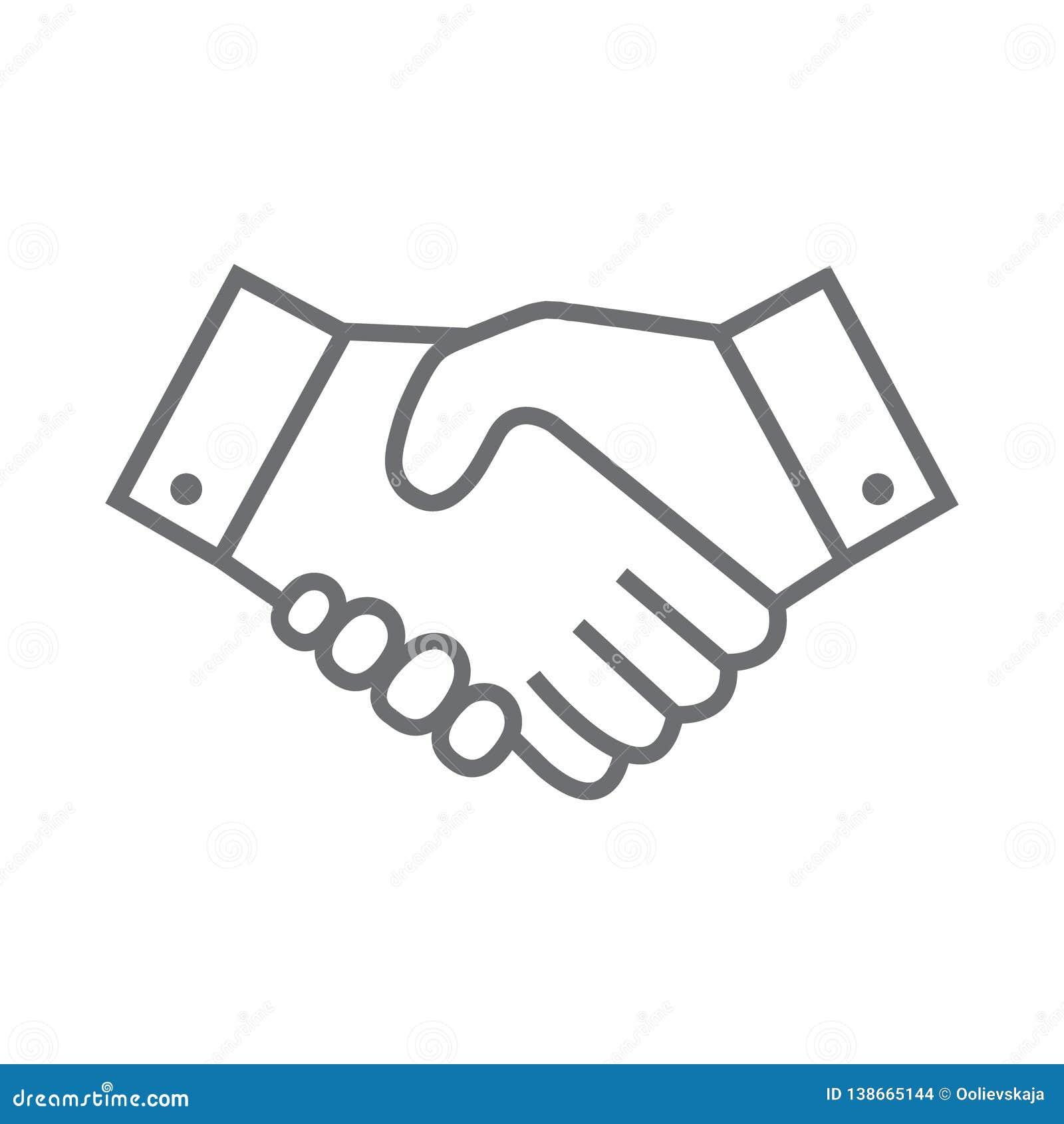 Uścisk dłoni kreskowa ikona Partnerstwa i zgody symbol