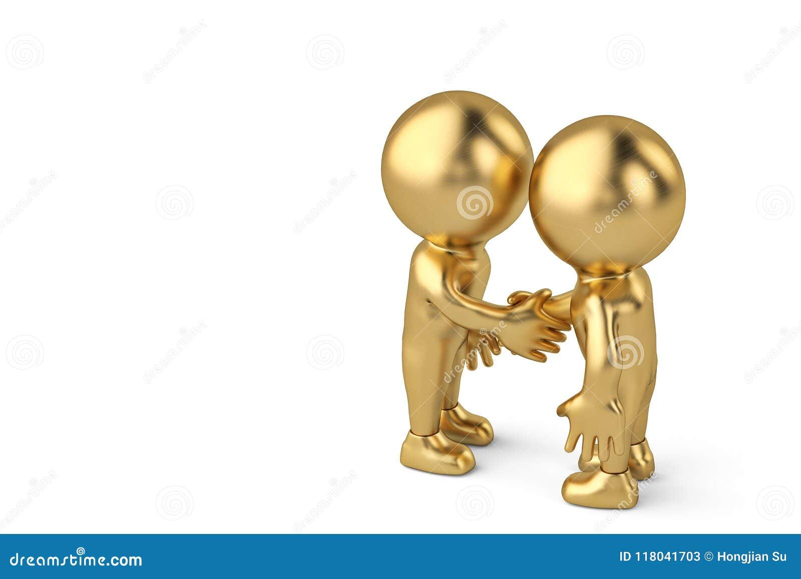 Uścisk dłoni między dwa biznesmenów złocistym charakterem ilustracja 3 d