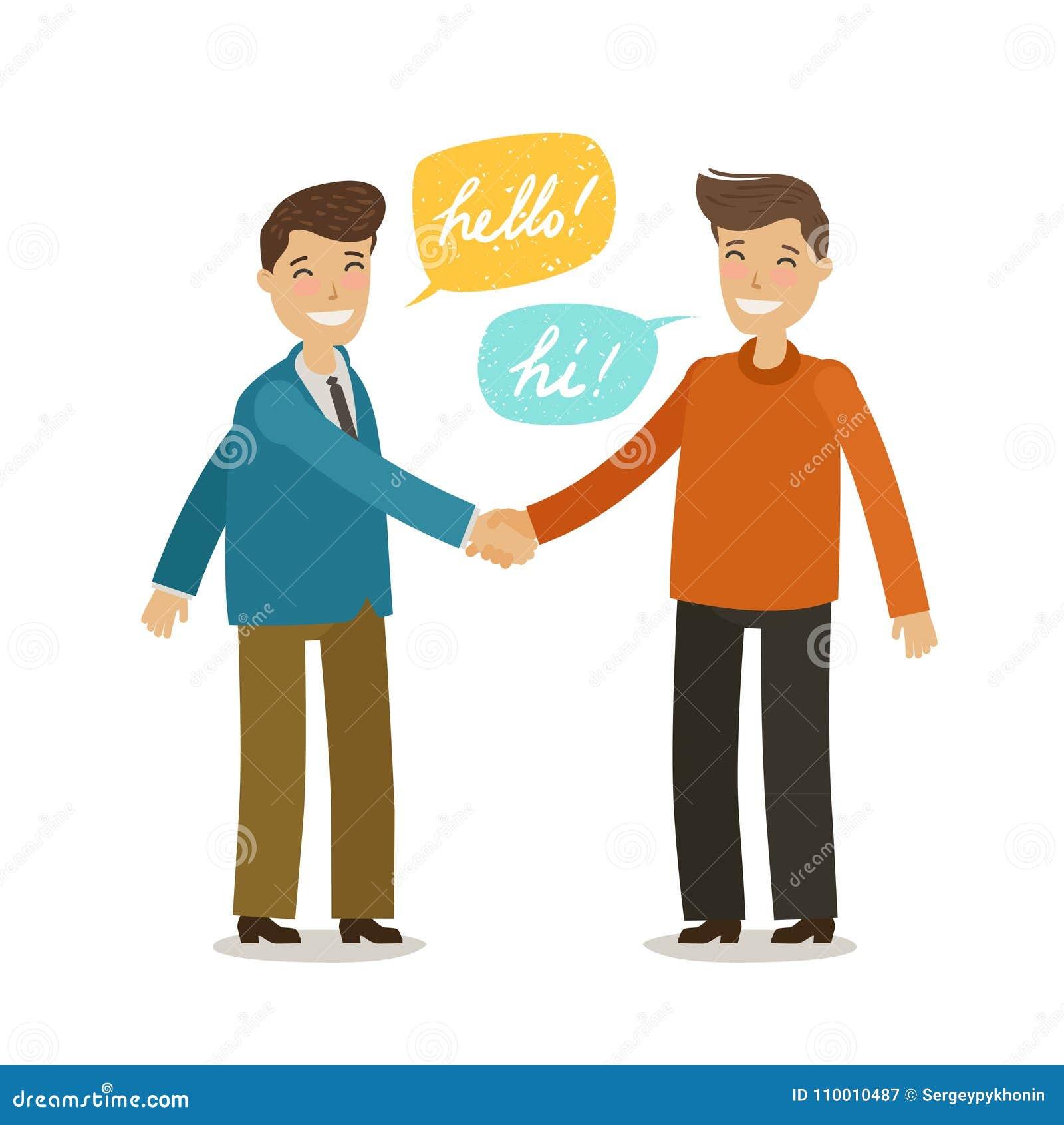 Uścisk dłoni, trząść ręki, przyjaźni pojęcie Szczęśliwi ludzie trząść ręki w powitaniu Kreskówki wektorowa ilustracja w mieszkani