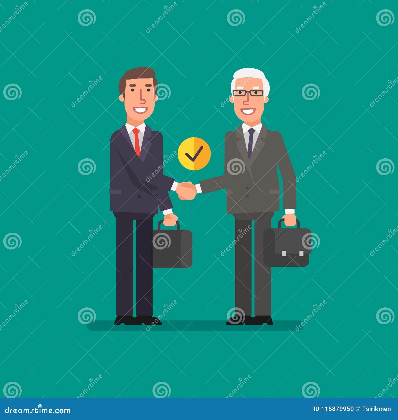 Uścisku dłoni dwa biznesmeni z teczką