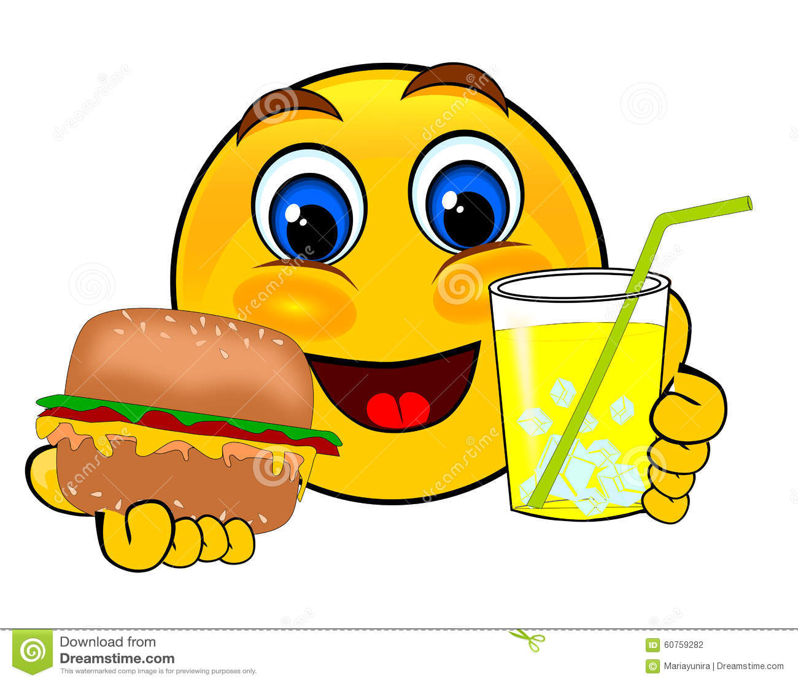 Uśmiechów emoticons trzyma hamburgeru i lodu lemoniadę