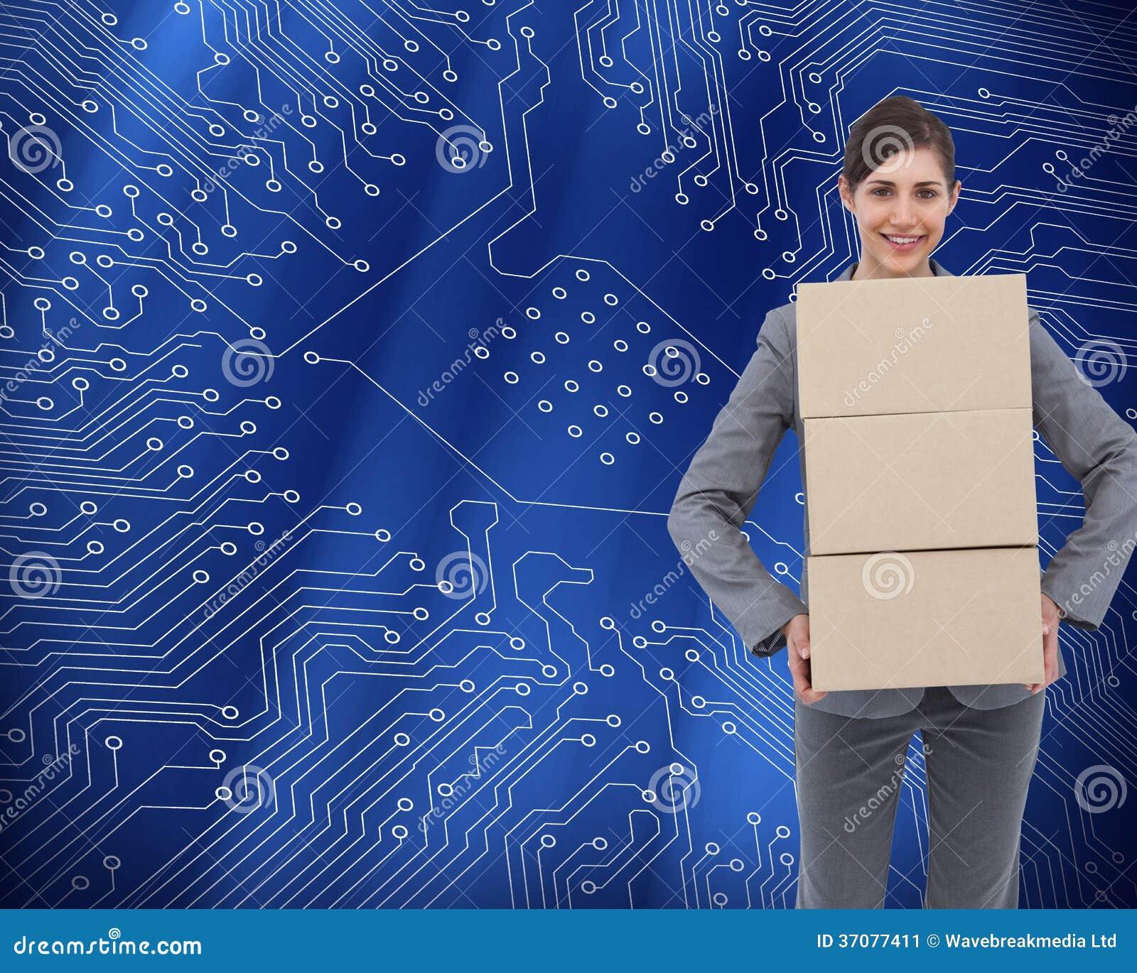 Download Uśmiechnięci Bizneswomanu Przewożenia Kartony Obraz Stock - Obraz złożonej z atrakcyjny, harmonijny: 37077411