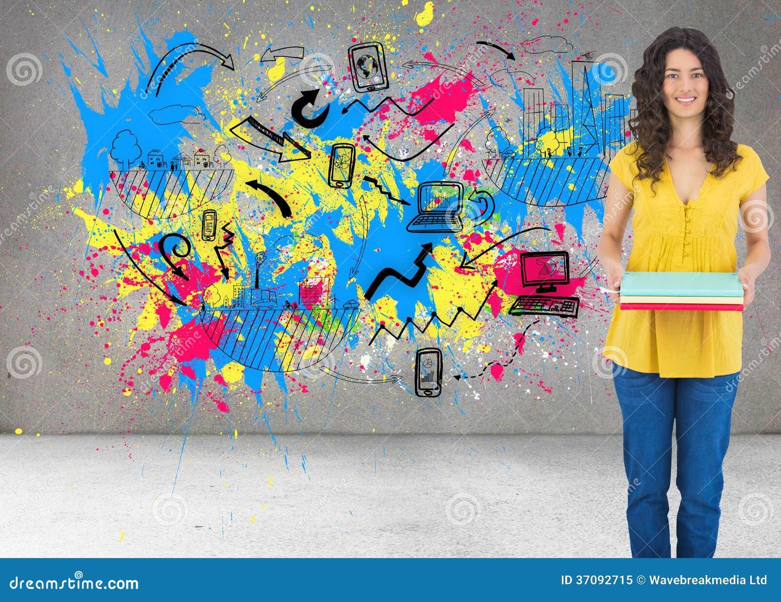 Download Uśmiechnięci Kędzierzawi Z Włosami Brunetki Mienia Notatniki Obraz Stock - Obraz złożonej z artystyczny, charcica: 37092715
