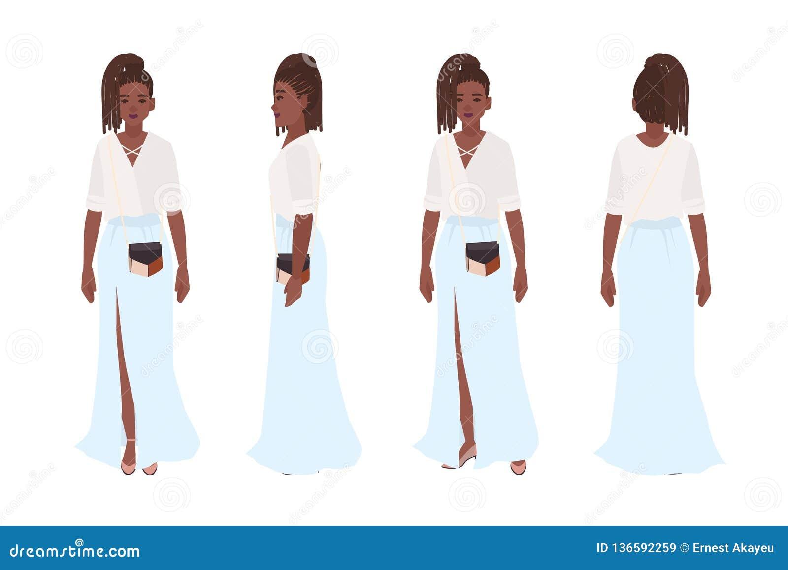 Uśmiechnięta amerykanin afrykańskiego pochodzenia dziewczyna ubierał w eleganckich przypadkowych ubraniach Ładna młoda kobieta je