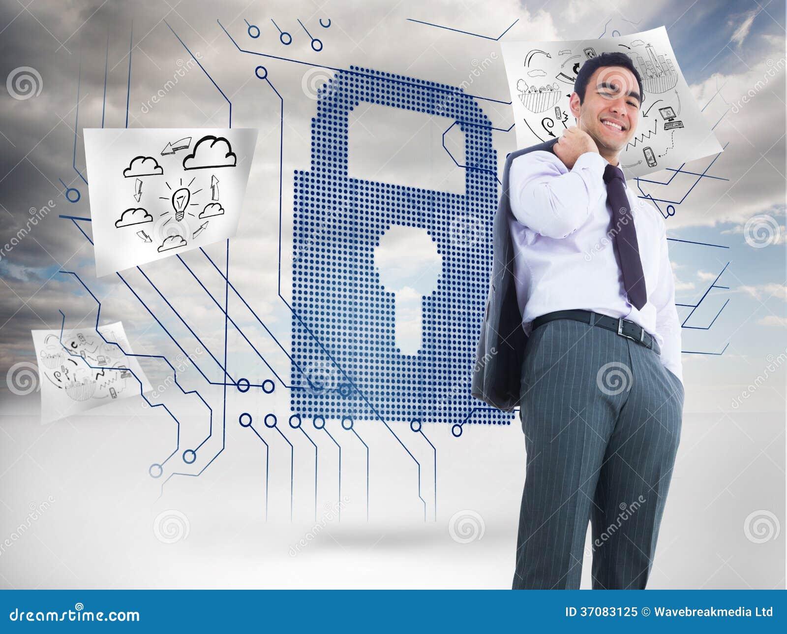 Download Uśmiechnięta Biznesmen Pozycja Obraz Stock - Obraz złożonej z kędziorek, obwód: 37083125