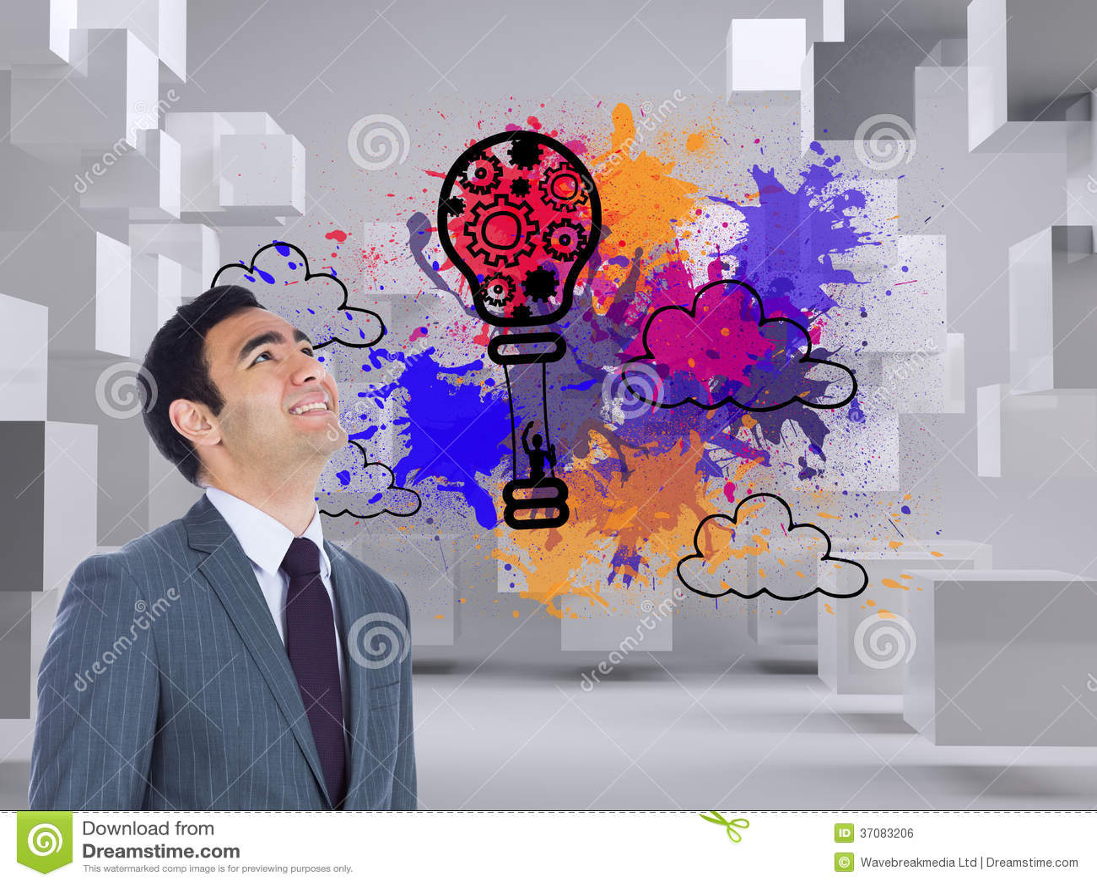 Download Uśmiechnięta Biznesmen Pozycja Zdjęcie Stock - Obraz złożonej z żarówka, balon: 37083206