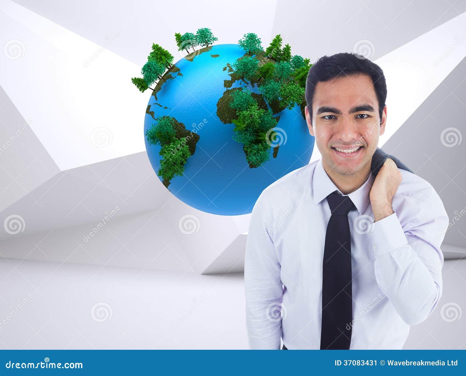 Download Uśmiechnięta Biznesmen Pozycja Obraz Stock - Obraz złożonej z potomstwa, strumień: 37083431