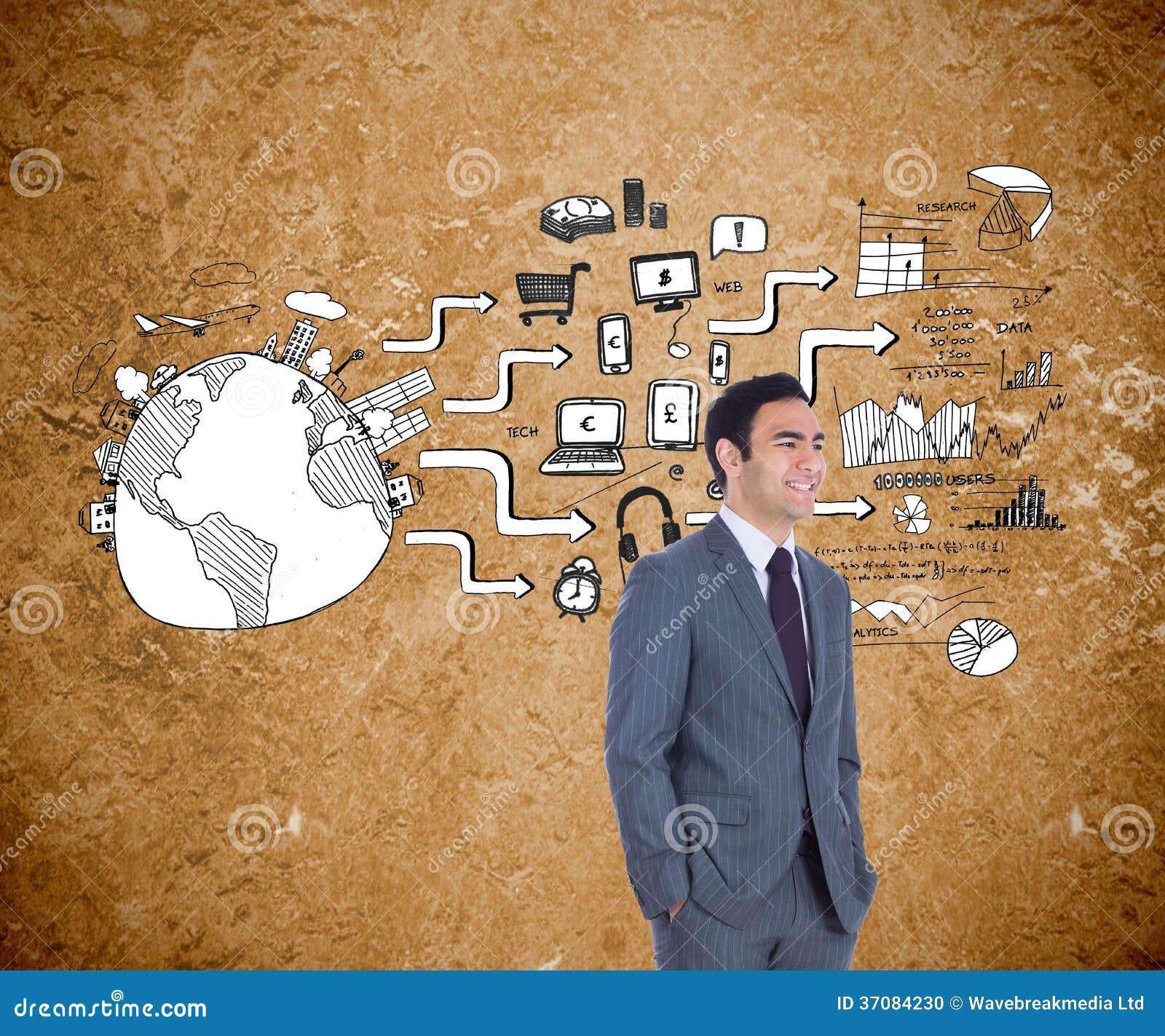 Download Uśmiechnięta Biznesmen Pozycja Zdjęcie Stock - Obraz złożonej z przyrząda, społeczności: 37084230